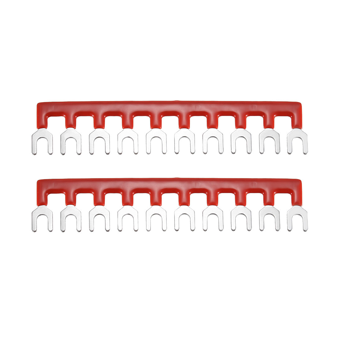 600V 20A 10 Positions Terminal Block Barrier Strip Fork Type Red 2 Pcs