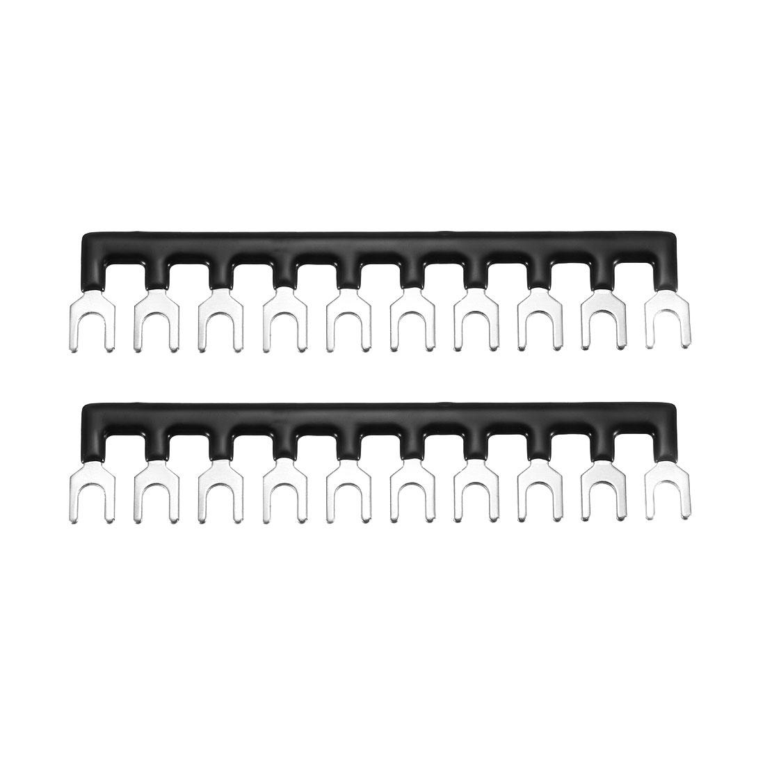 600V 20A 10 Positions Terminal Block Barrier Strip Fork Type Black 2 Pcs
