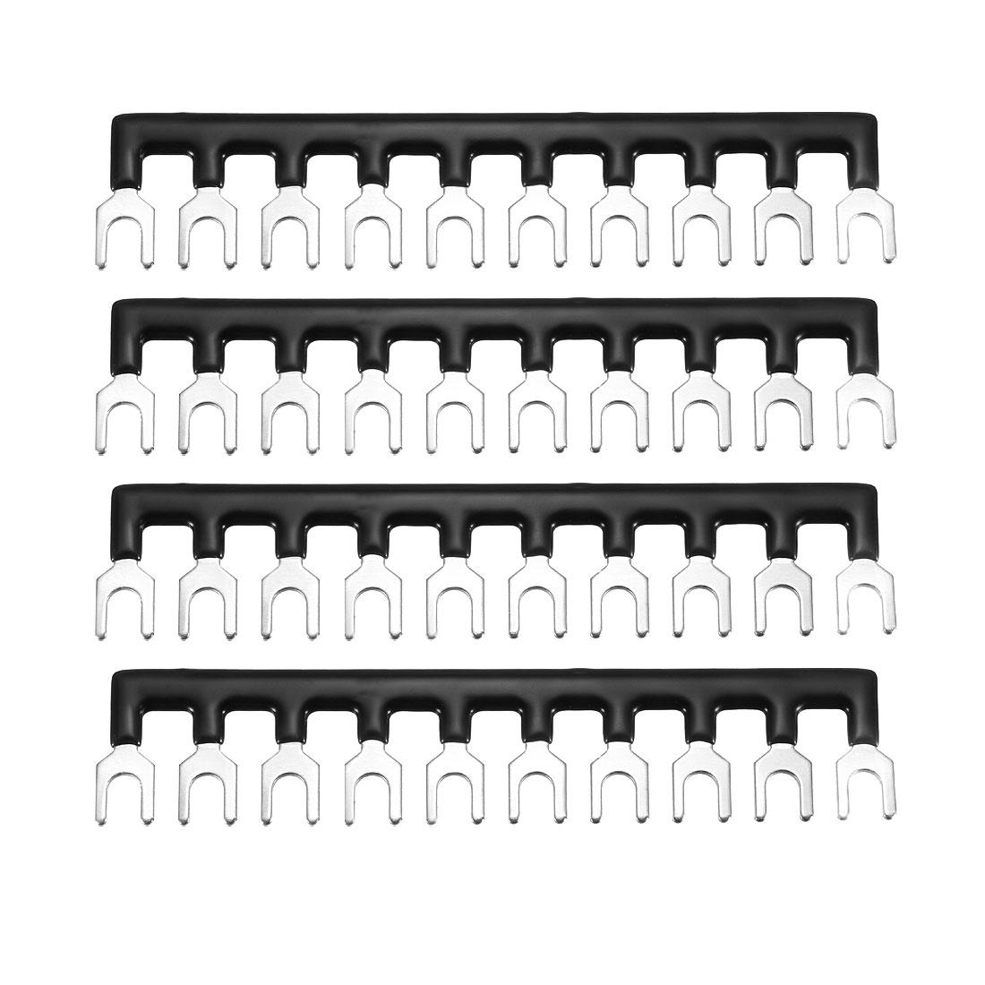 600V 20A 10 Positions Terminal Block Barrier Strip Fork Type Black 4 Pcs