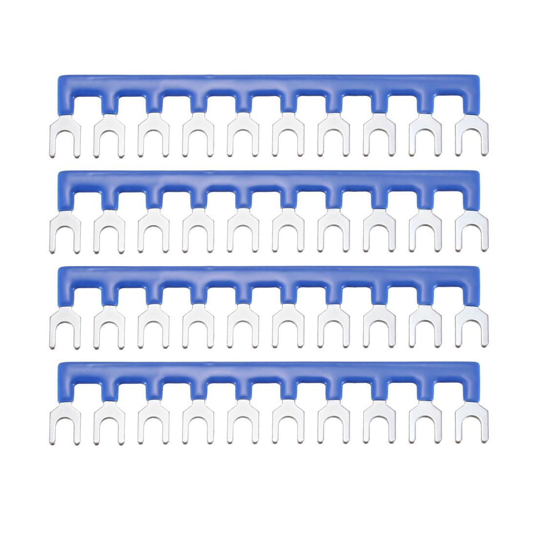 600V 20A 10 Positions Terminal Block Barrier Strip Fork Type Blue 4 Pcs