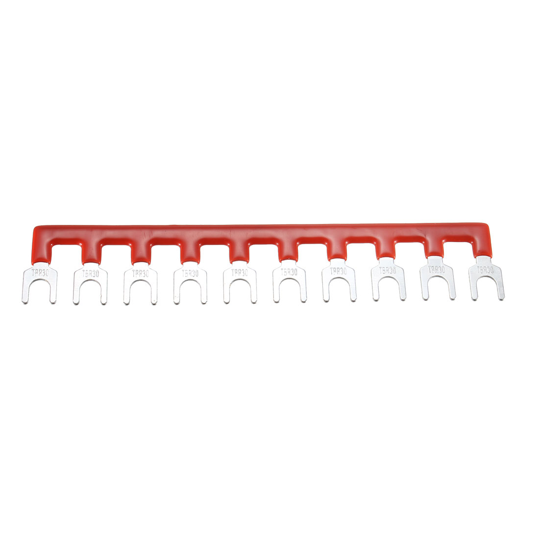 600V 30A 10 Positions Terminal Block Barrier Strip Fork Type Pre-insulated Red