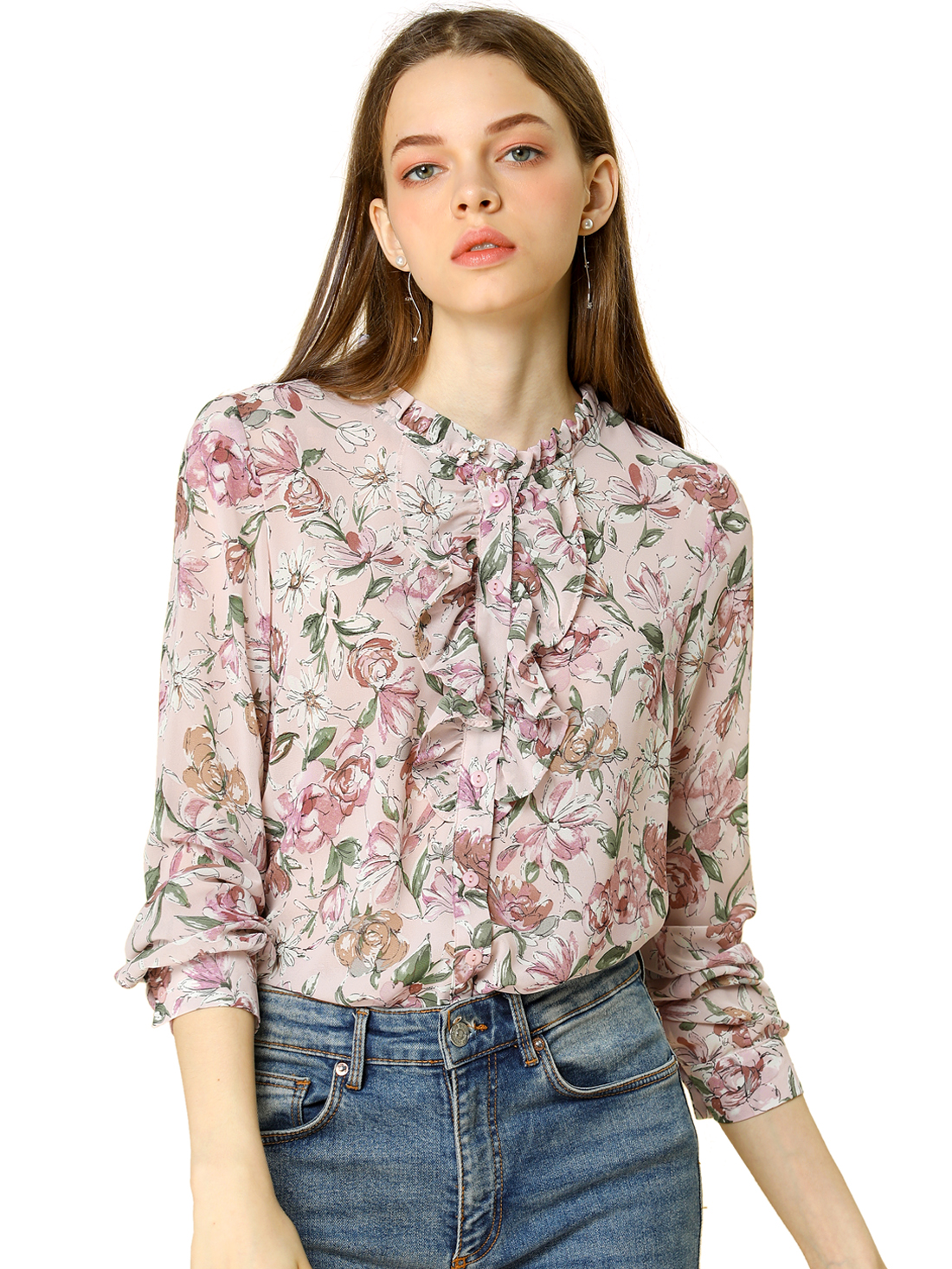 Women's Long Sleeve Ruffle Collar Button Down Floral Shirt Pink S (US 6)