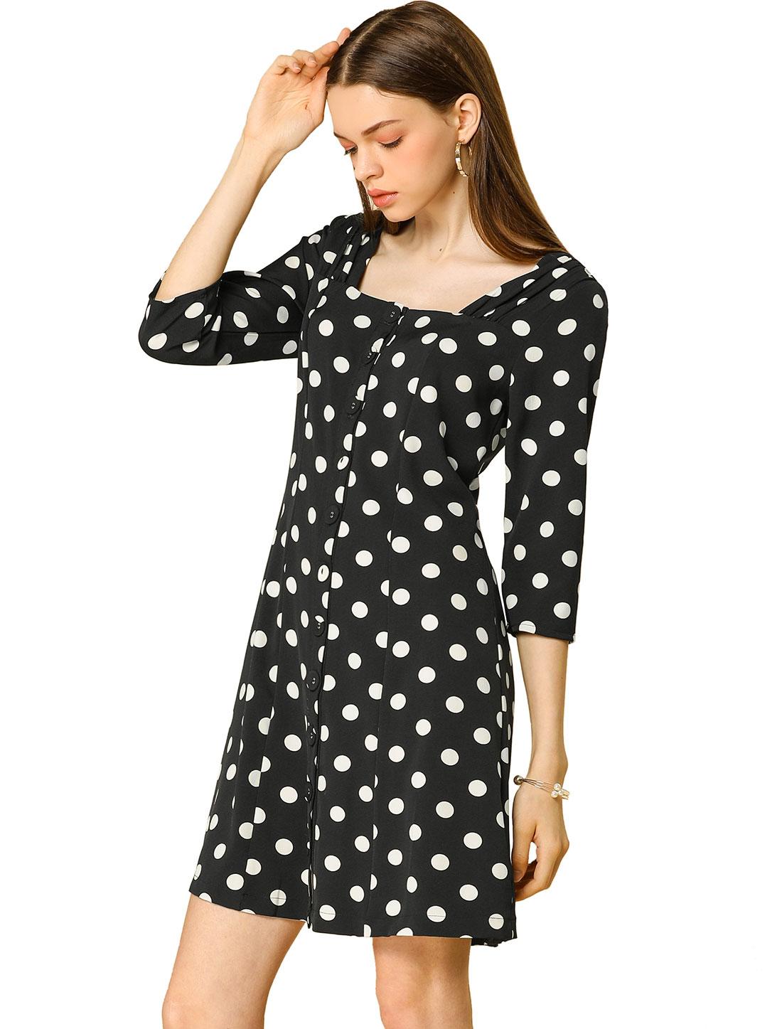 k Botton Down A-Line Retro Maxi Polka Dot Dress Black M