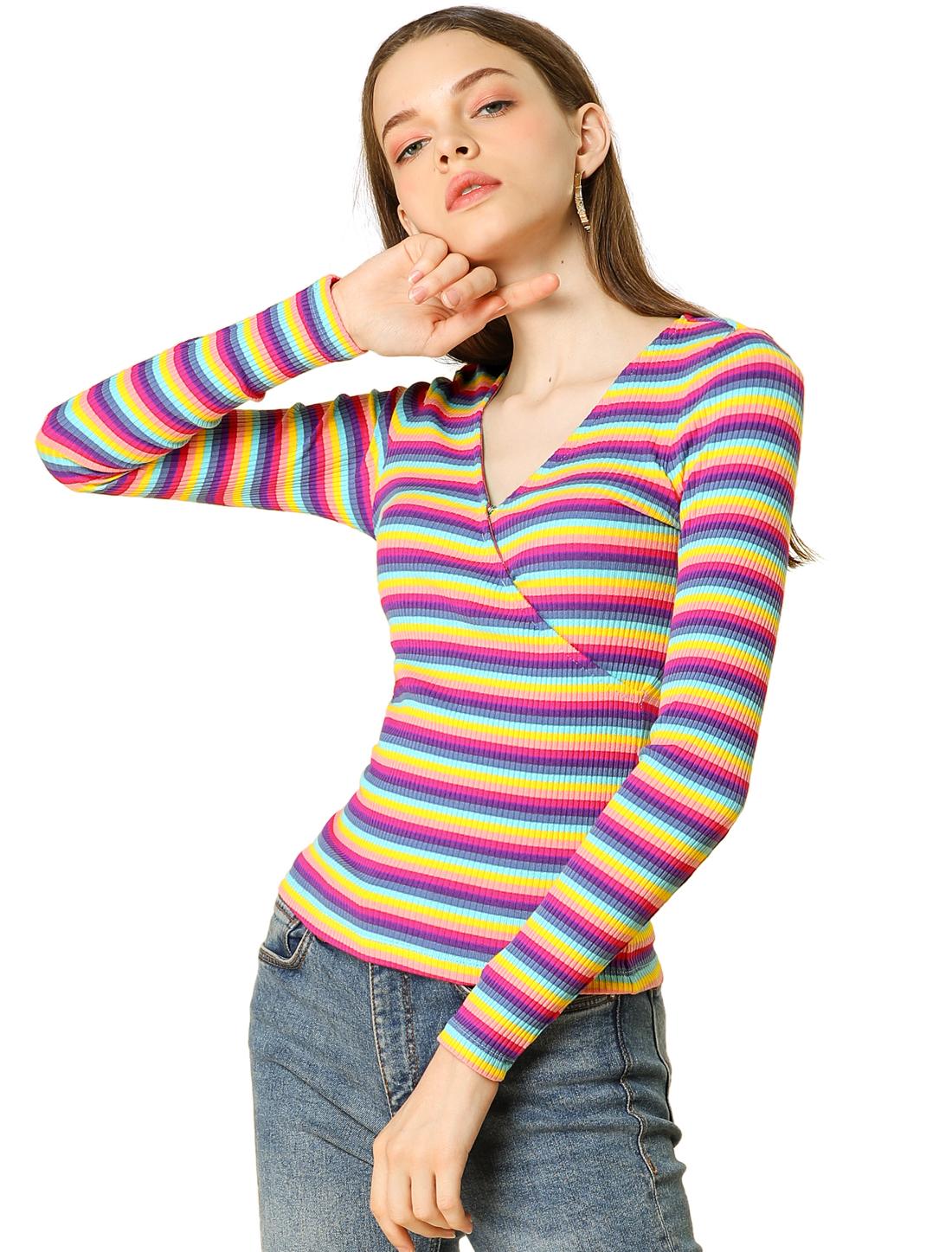 Allegra K Women's Multicolour Striped V Neck Knit Tops Multicolour M (US 10)