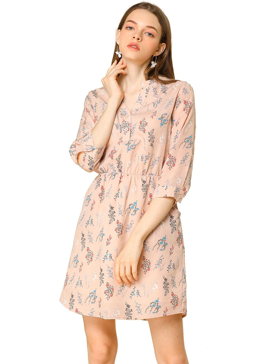 Allegra K Women Button Down V Neck Side Pockets Floral Dress Pink XS