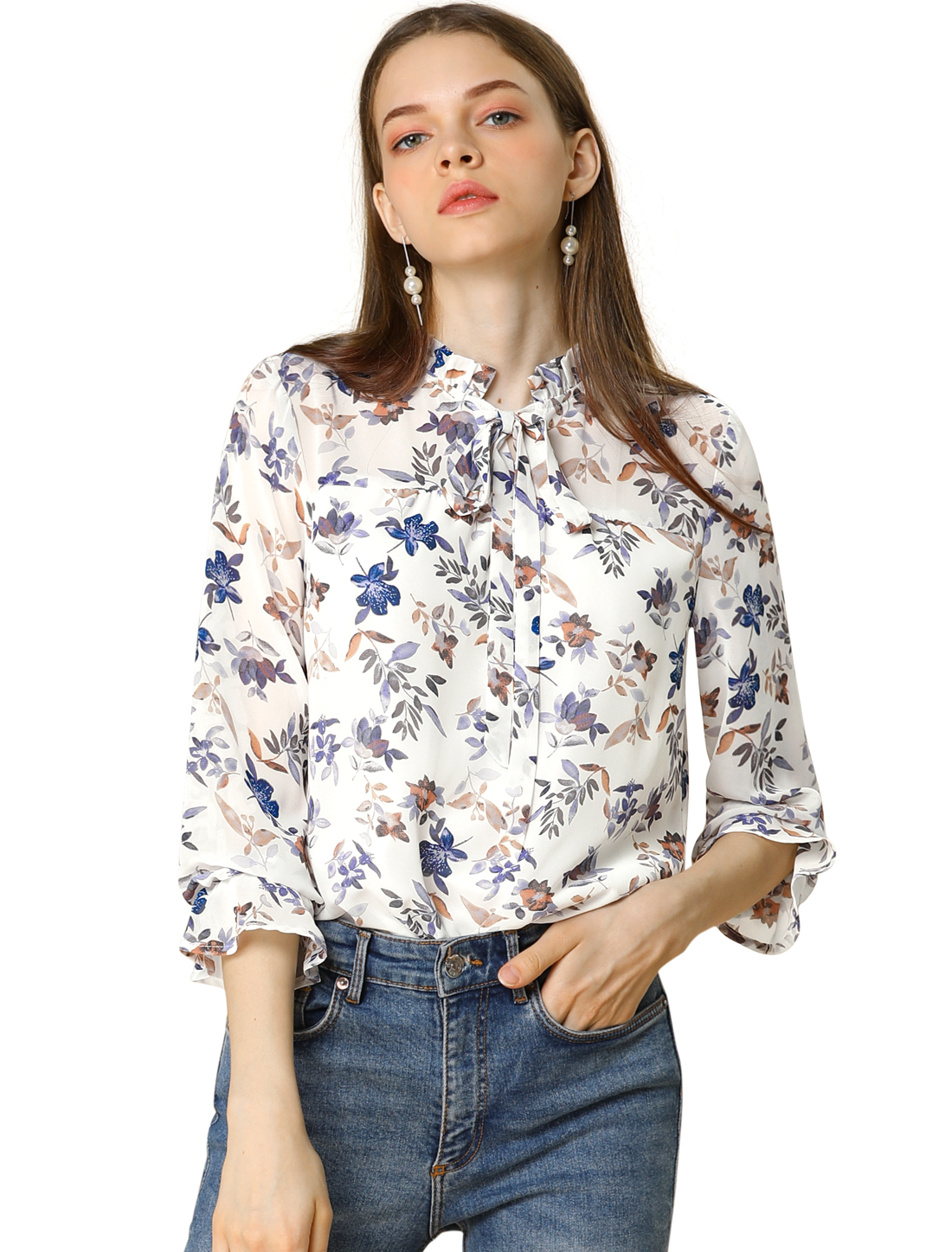 Allegra K Women's Long Sleeve Tie Neck Ruffle Collar Floral Print Top White XL
