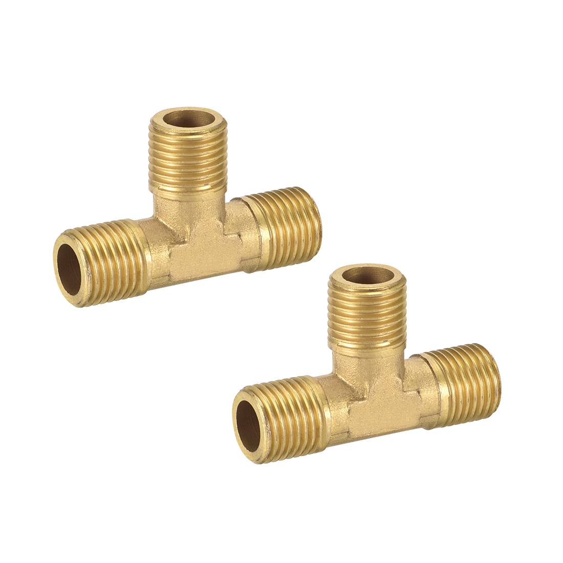 Brass Tee Pipe Fitting 1/4NPT Male Thread T Shaped Connector Coupler 2pcs