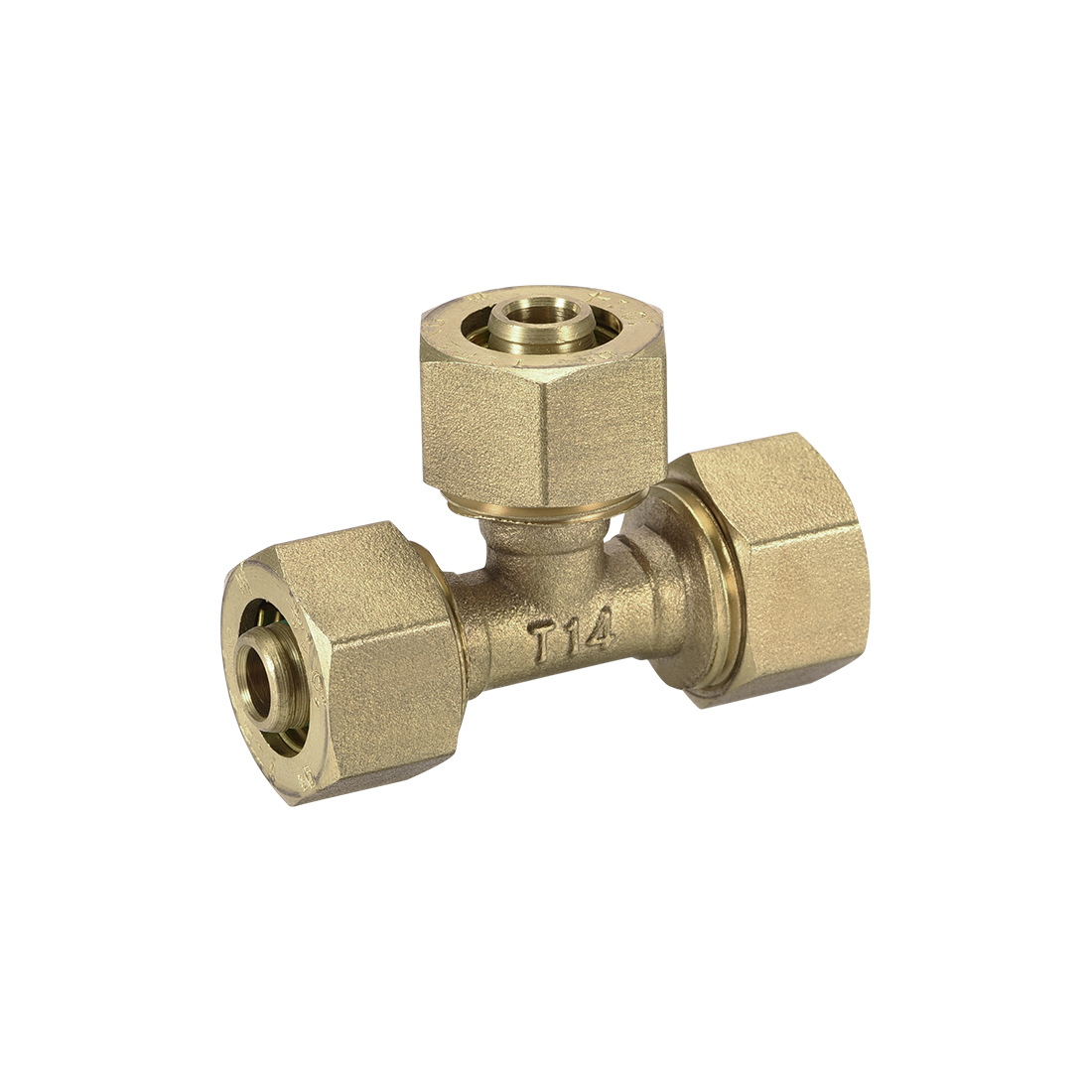 Brass Compression Tube Fitting Tee 3/8 x 3/8 x 3/8 Tube ID Flared Fitting