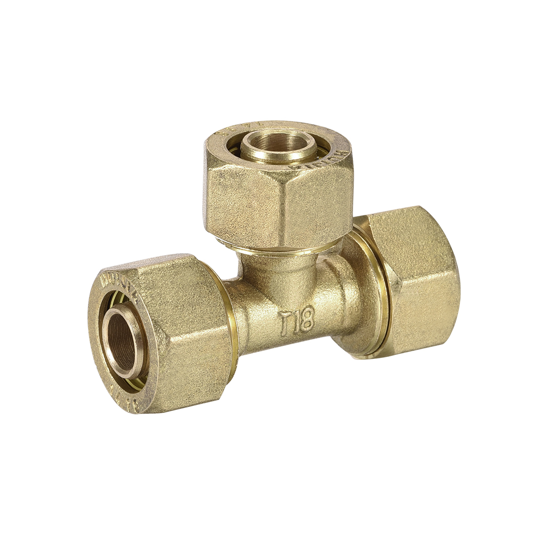 Brass Compression Tube Fitting Tee 14mm Tube ID Flared Fitting