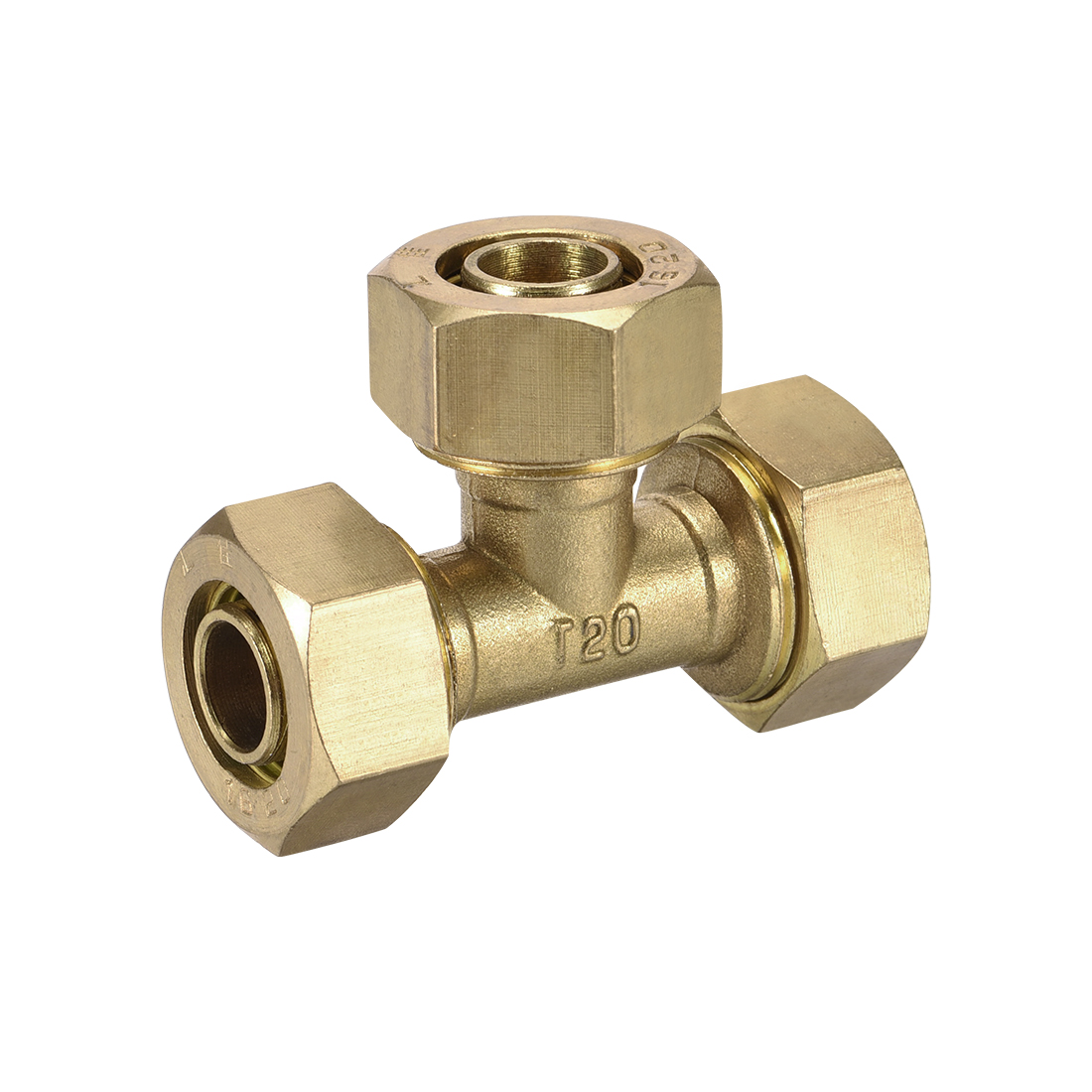 Brass Compression Tube Fitting Tee 5/8 x 5/8 x 5/8 Tube ID Flared Fitting
