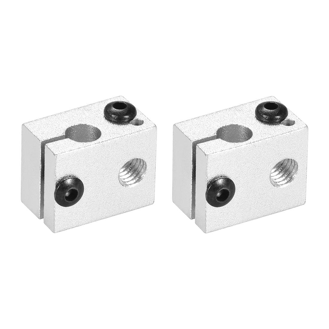 Aluminum Extruder Heater Block, Fit V6 3D Printer Silver 2pcs