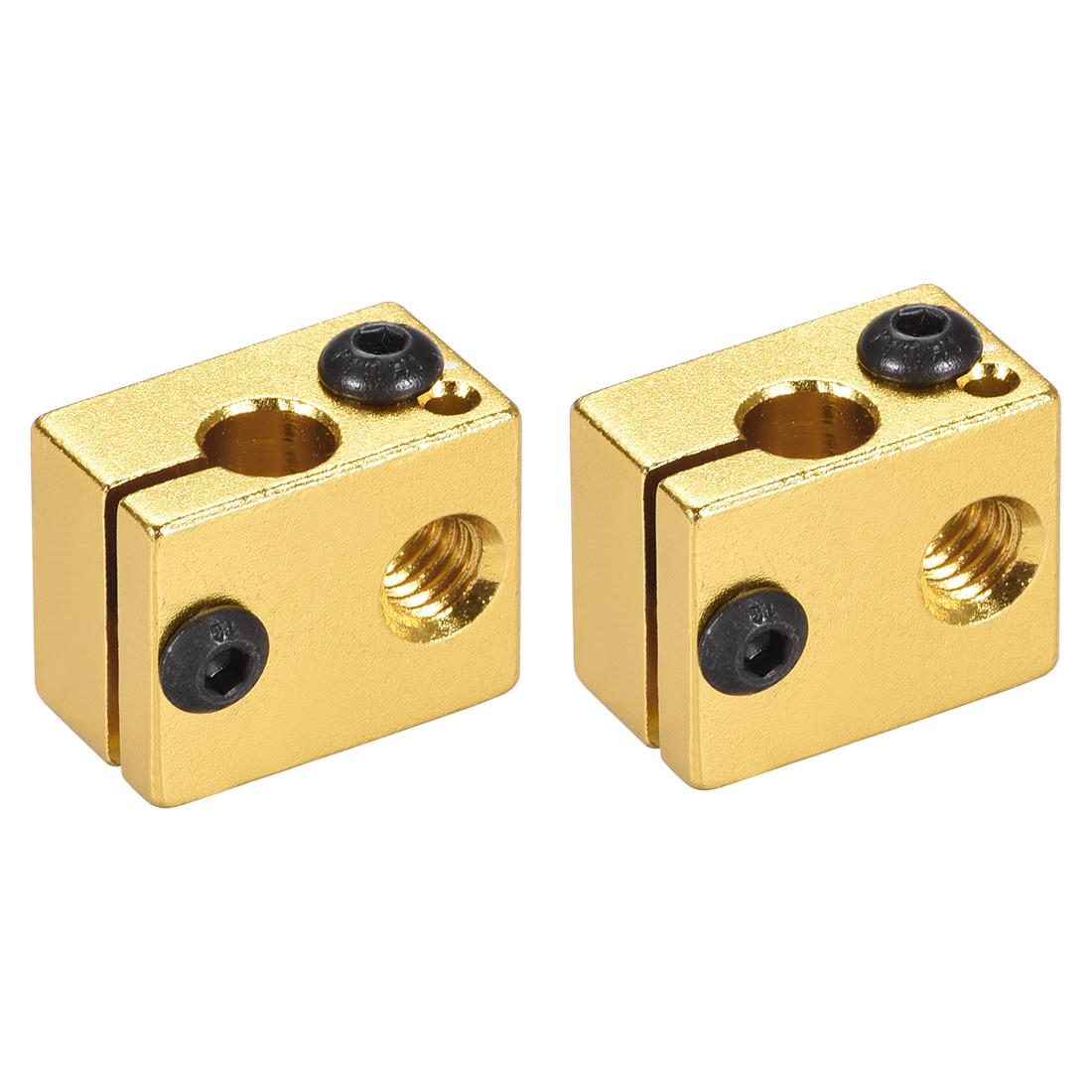Aluminum Extruder Heater Block, Fit V6 3D Printer Gold Tone 2pcs