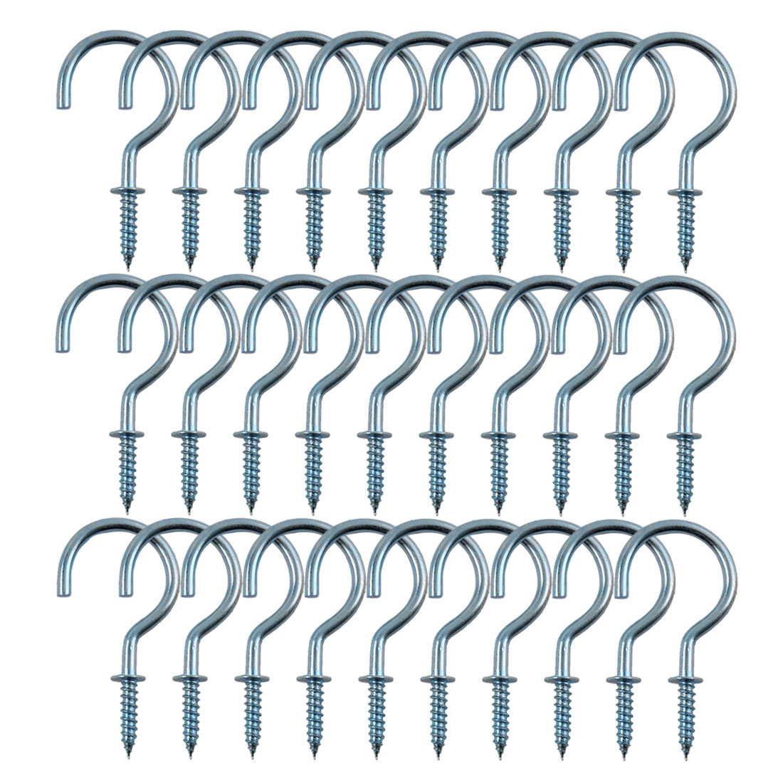 30pcs Cup Ceiling Hooks 1 Inch Zinc Plating Metal Screw for Home Office Cup