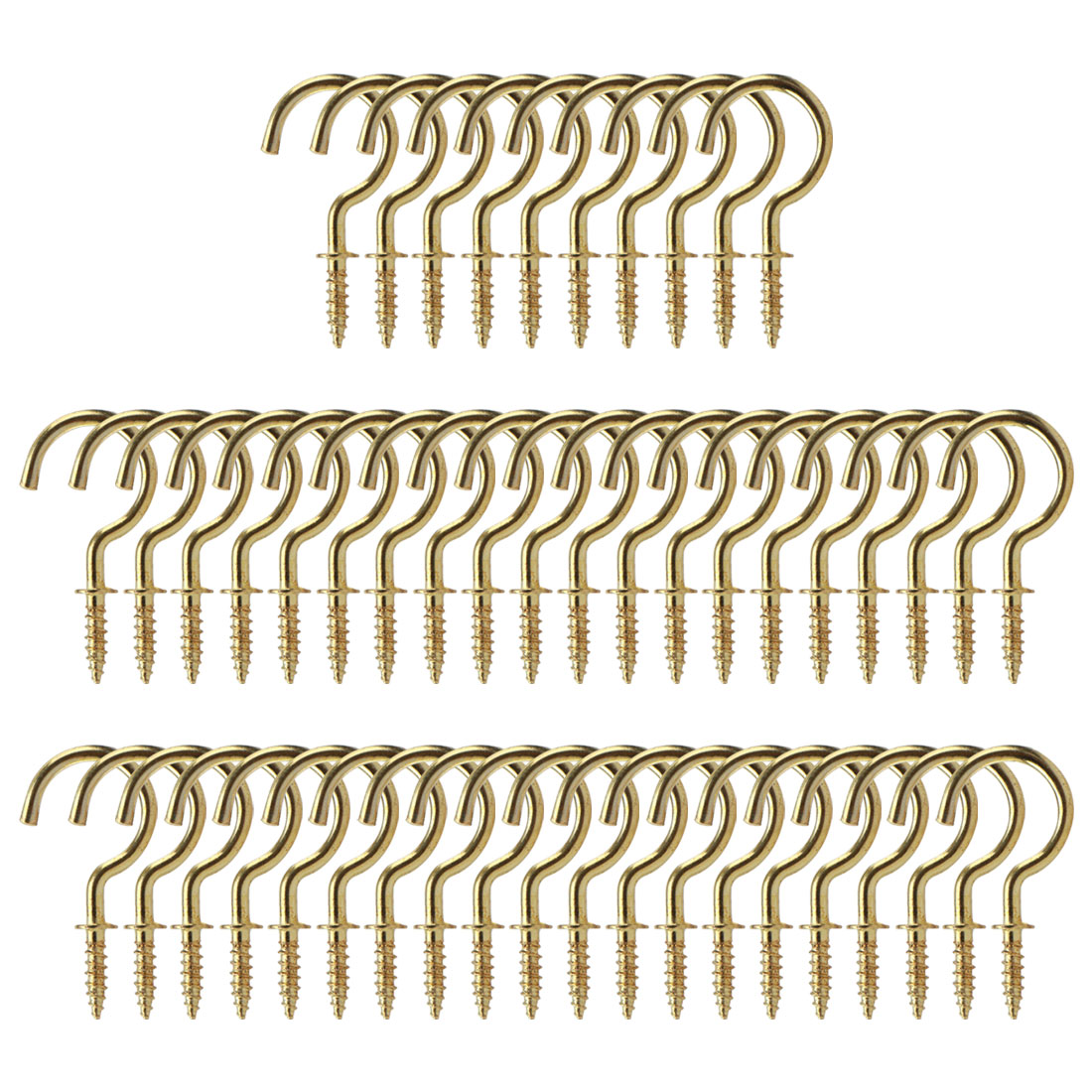 50pcs Cup Ceiling Hooks 1 Inch Copper Plating Screw Holder Gold Tone