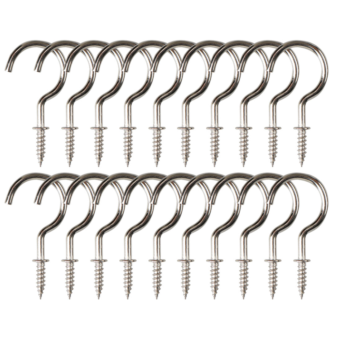 20pcs Cup Ceiling Hooks 1-1/4 Inch Nickel Plating Metal Screw for Home Cups