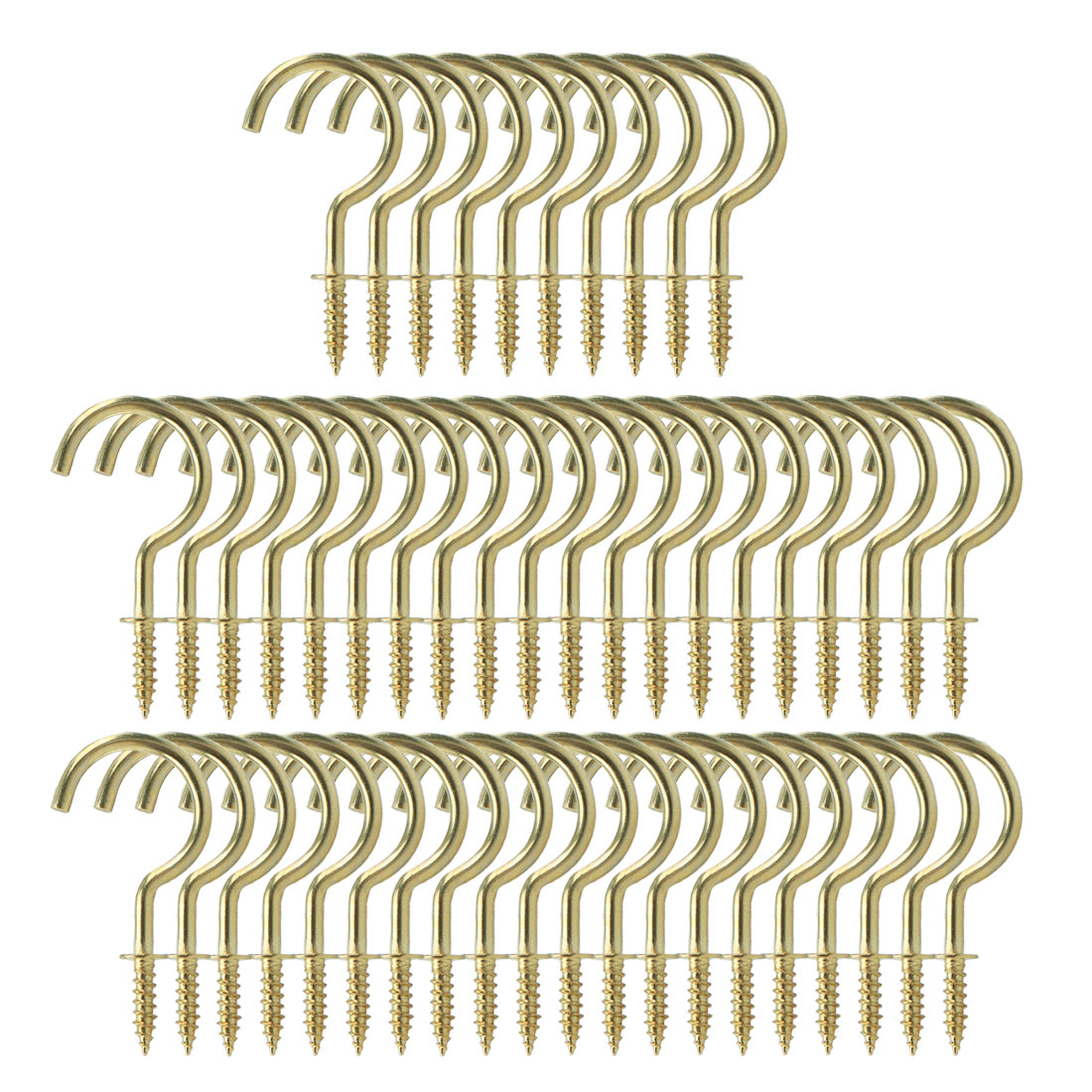 50pcs Cup Ceiling Hooks 1-1/4 Inch Copper Plating Screw Holder Gold Tone