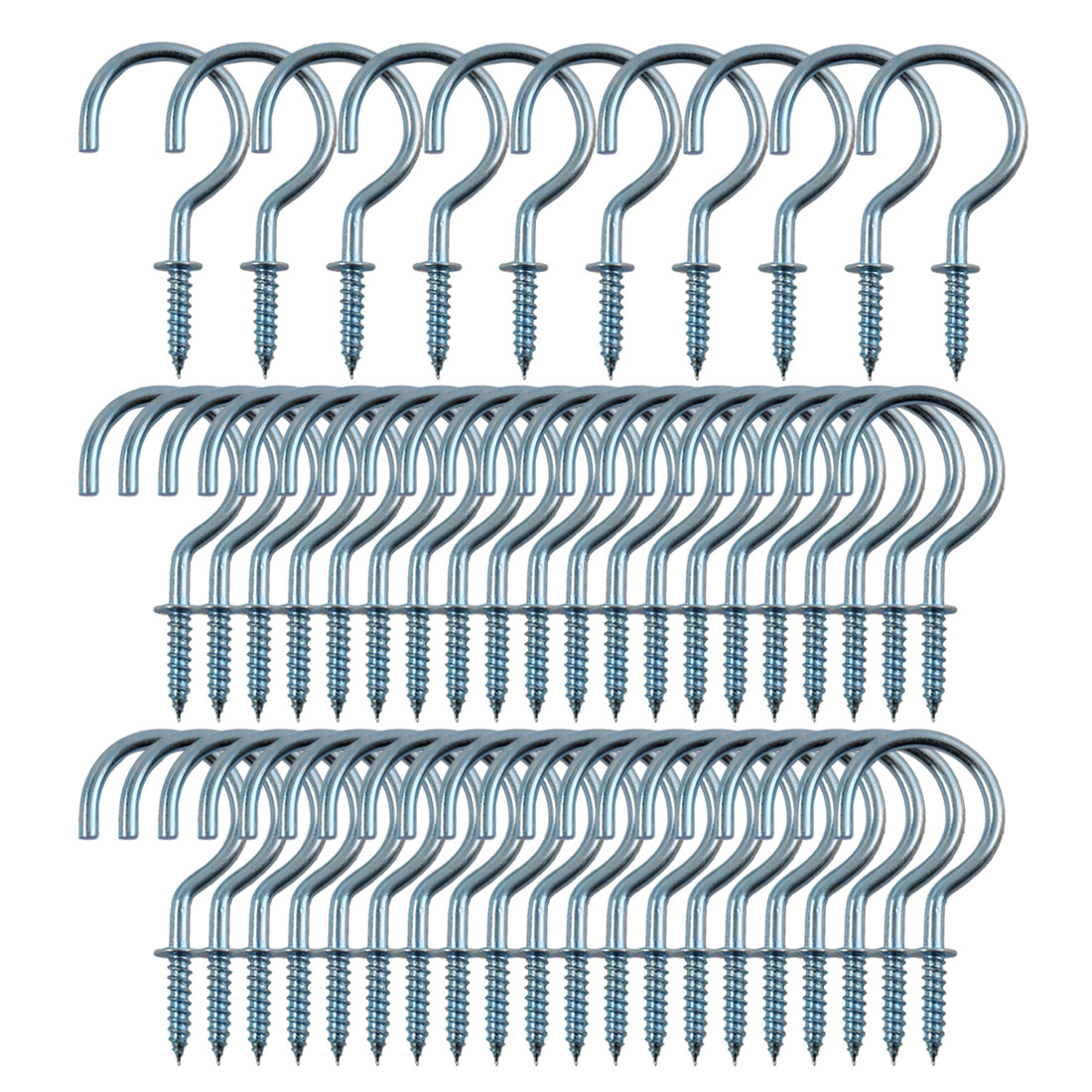 50pcs Cup Ceiling Hooks 1-1/2 Inch Zinc Plating Screw Holder Blue