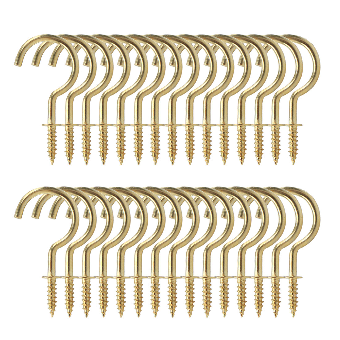 30pcs Cup Ceiling Hooks 1-1/2 Inch Brass Plating Metal Screw for Home Office Cup