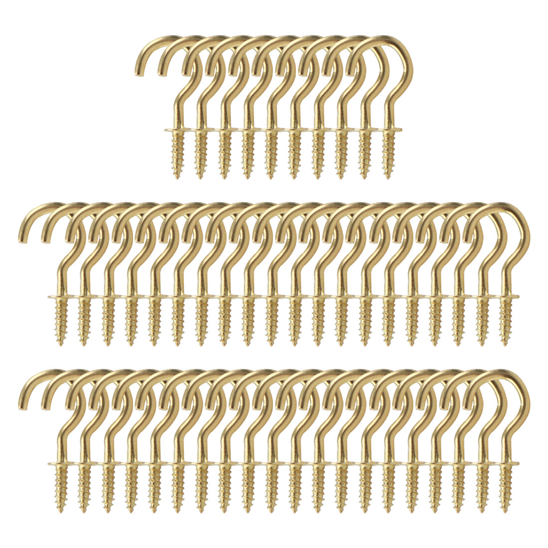 50pcs Cup Ceiling Hooks 3/4 Inch Copper Plating Screw Holder Gold Tone