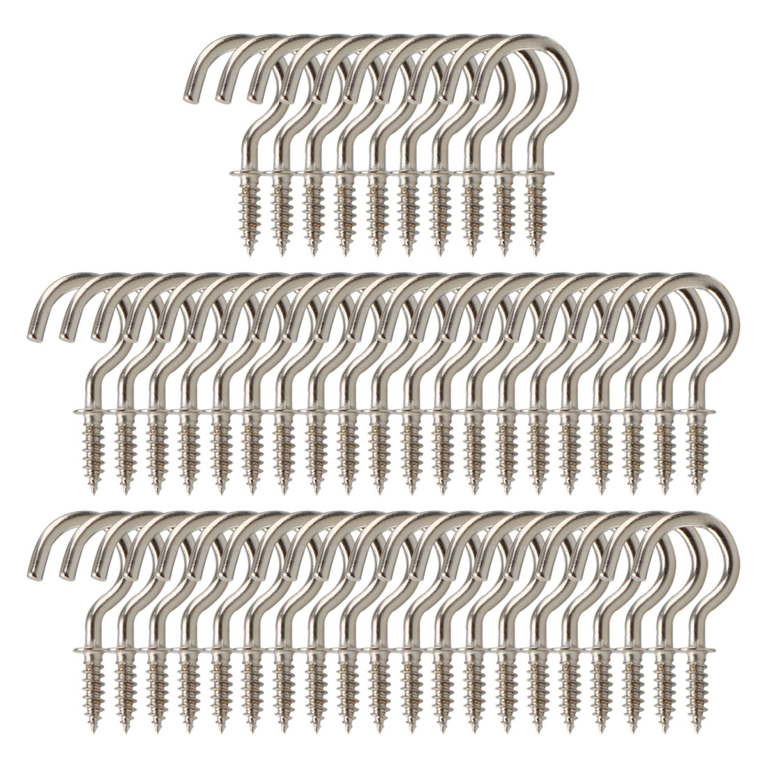 50pcs Cup Ceiling Hooks 3/4 Inch Nickel Plating Screw Holder Silver Gray