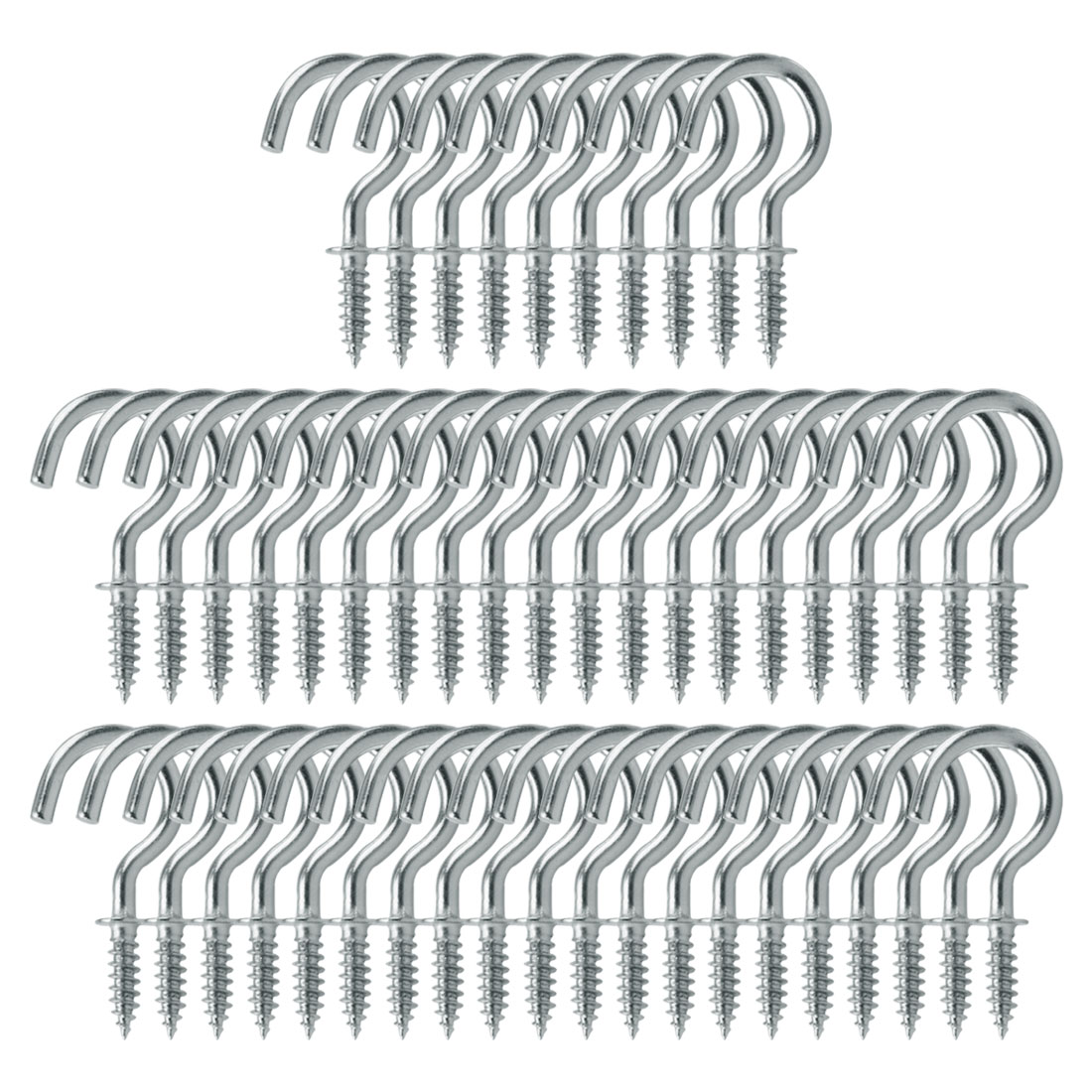 50pcs Cup Ceiling Hooks 3/4 Inch Chrome Plating Screw Holder Silver White