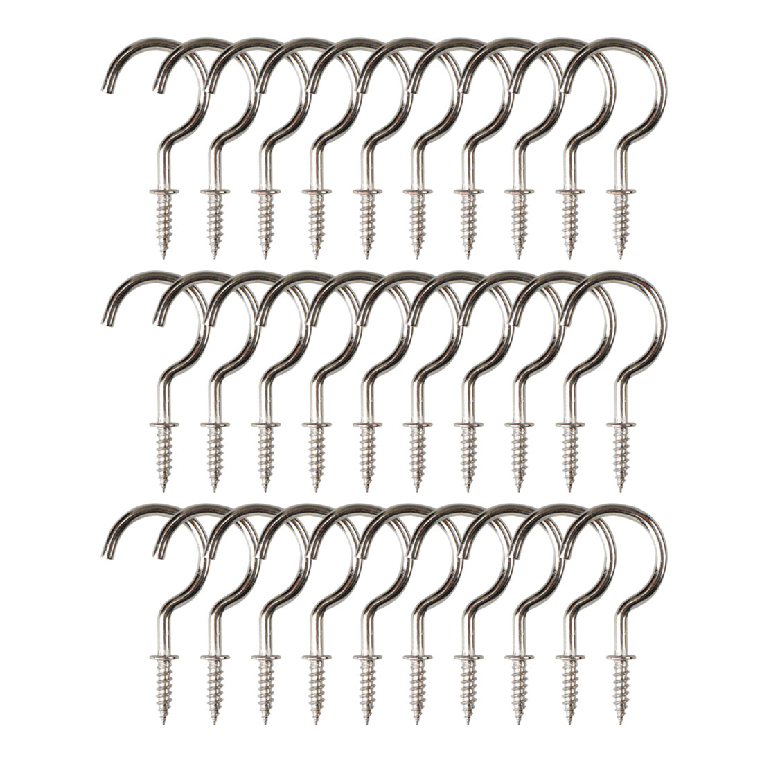 30pcs Cup Ceiling Hooks 7/8 Inch Nickel Plating Metal Screw for Home Office Cup
