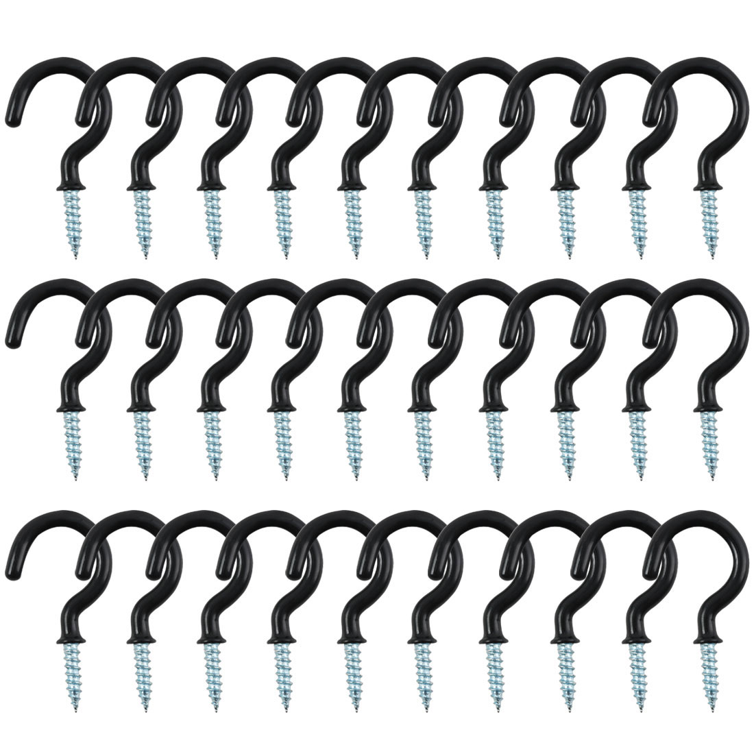 30pcs Cup Ceiling Hooks 1 Inch Metal with Vinyl Coated Screw in Holder Black