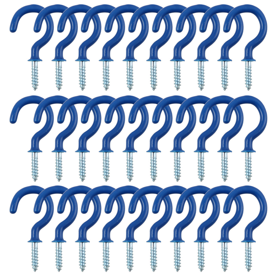 30pcs Cup Ceiling Hooks 1 Inch Metal with Vinyl Coated Screw in Holder Blue