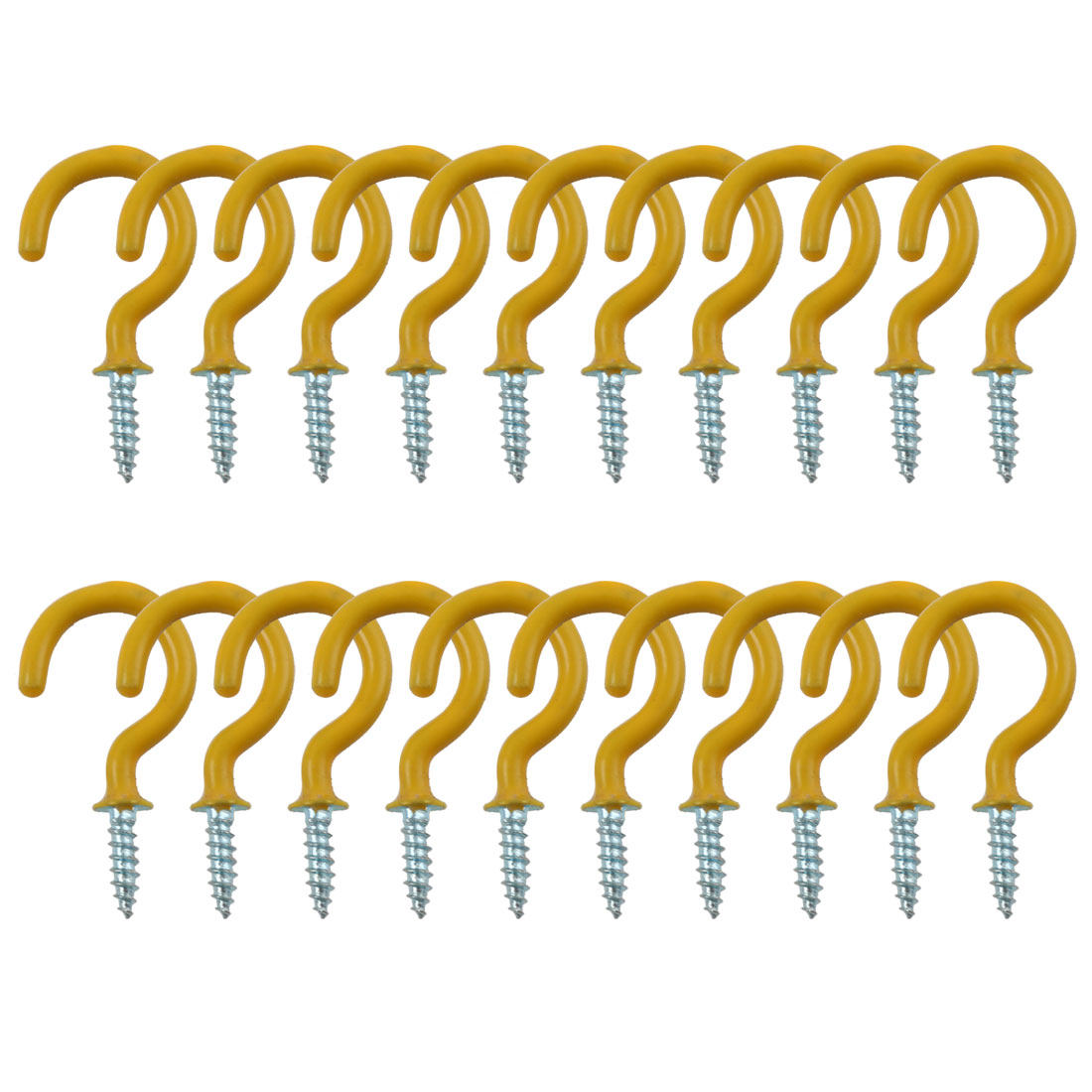 20pcs Cup Ceiling Hooks 1 Inch Metal with Vinyl Coated Screw in Holder Yellow