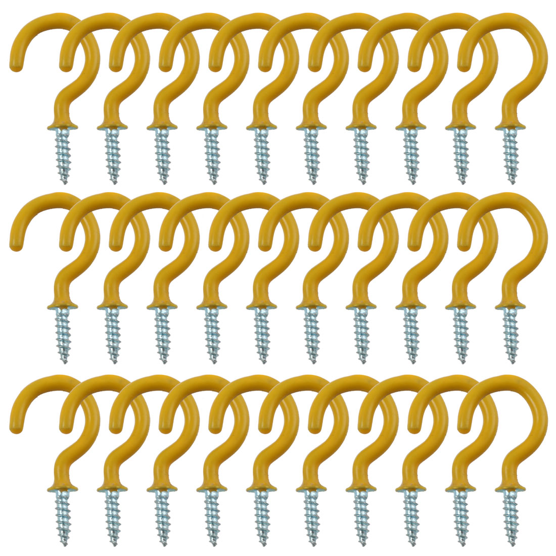 30pcs Cup Ceiling Hooks 1 Inch Metal with Vinyl Coated Screw in Holder Yellow