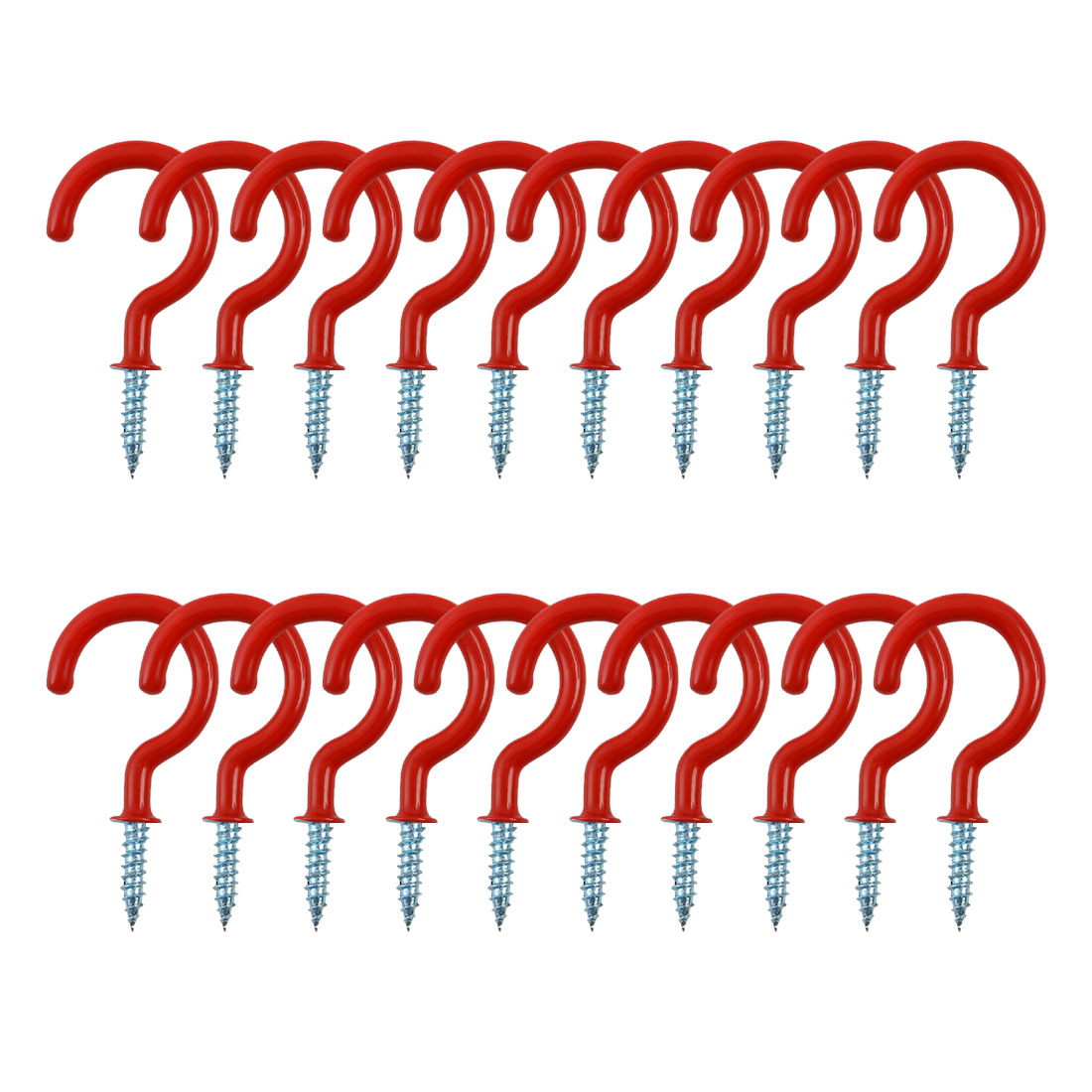 20pcs Cup Ceiling Hooks 1-1/4 Inch Metal with Vinyl Coated Screw in Holder Red