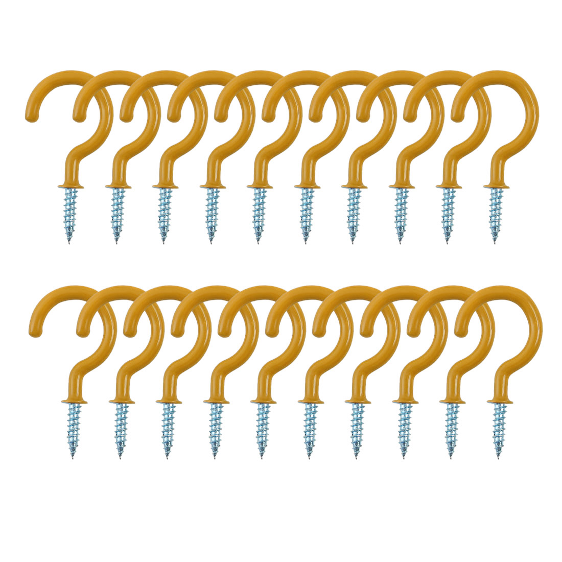 20pcs Cup Hooks 1-1/4 Inch Metal with Vinyl Coated Screw in Holder Yellow