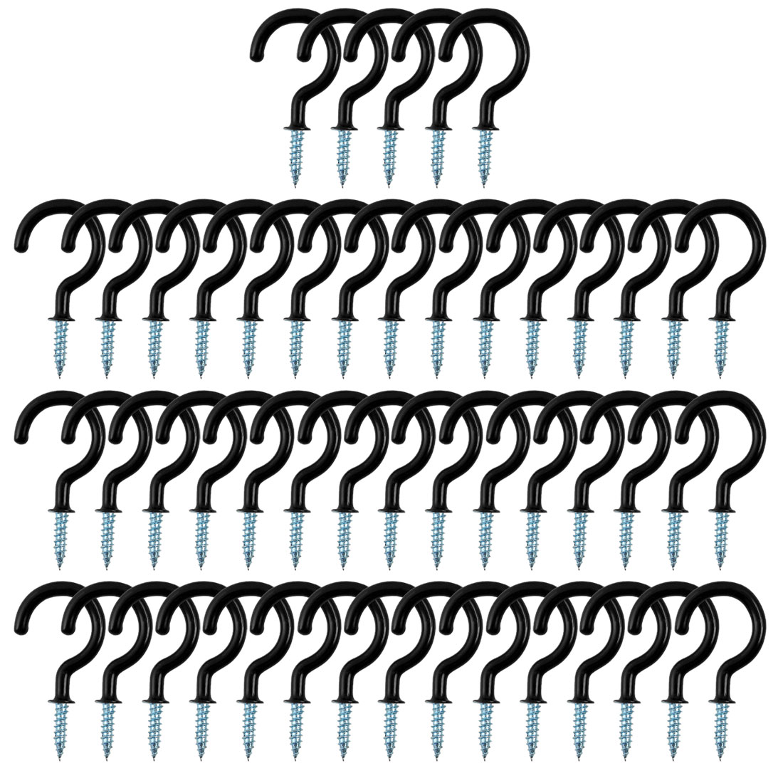 50pcs Cup Ceiling Hooks 1-1/2 Inch Metal with Vinyl Coated Screw in Holder Black