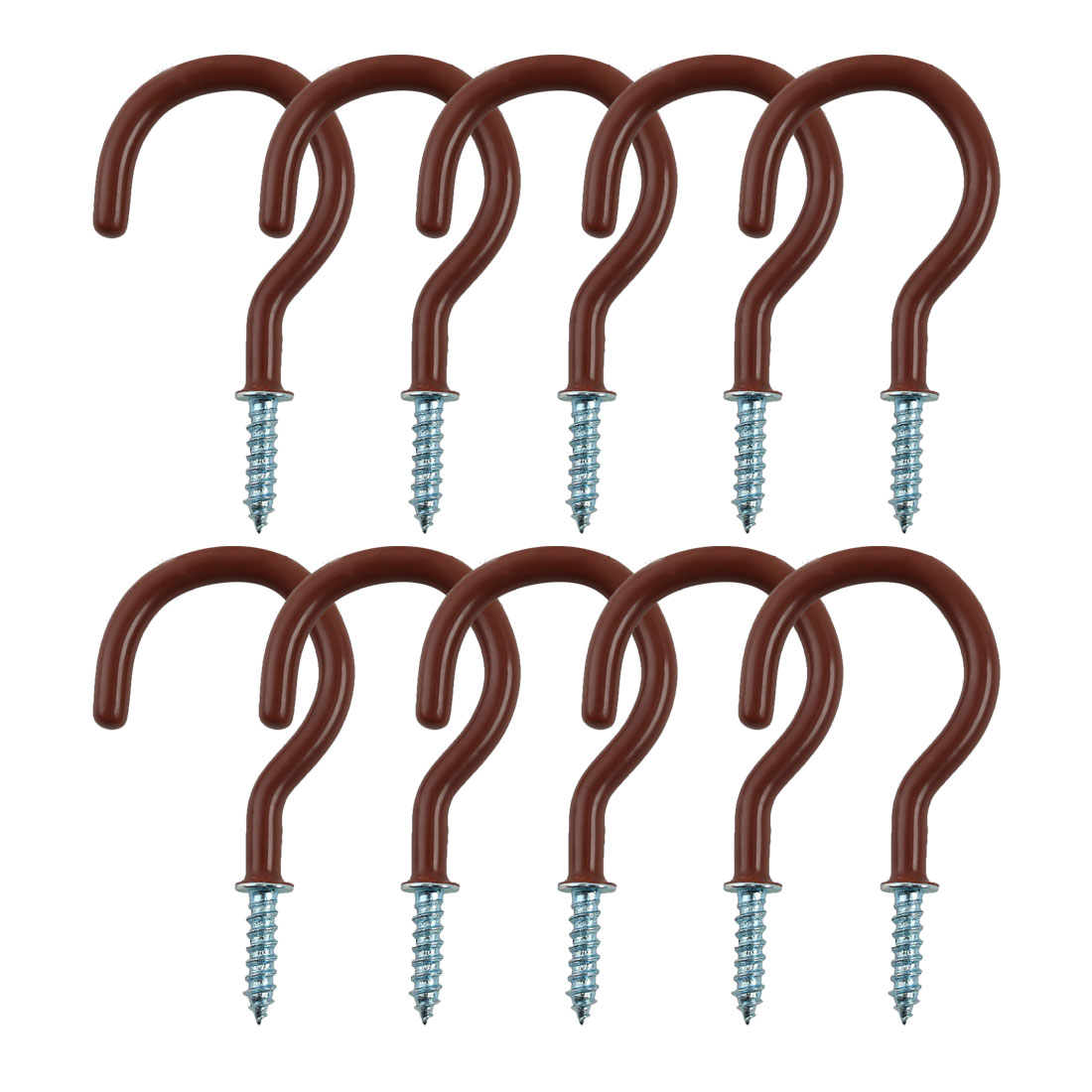 10pcs Cup Ceiling Hooks 2 Inch Metal Vinyl Coated Screw in Hanger Brown