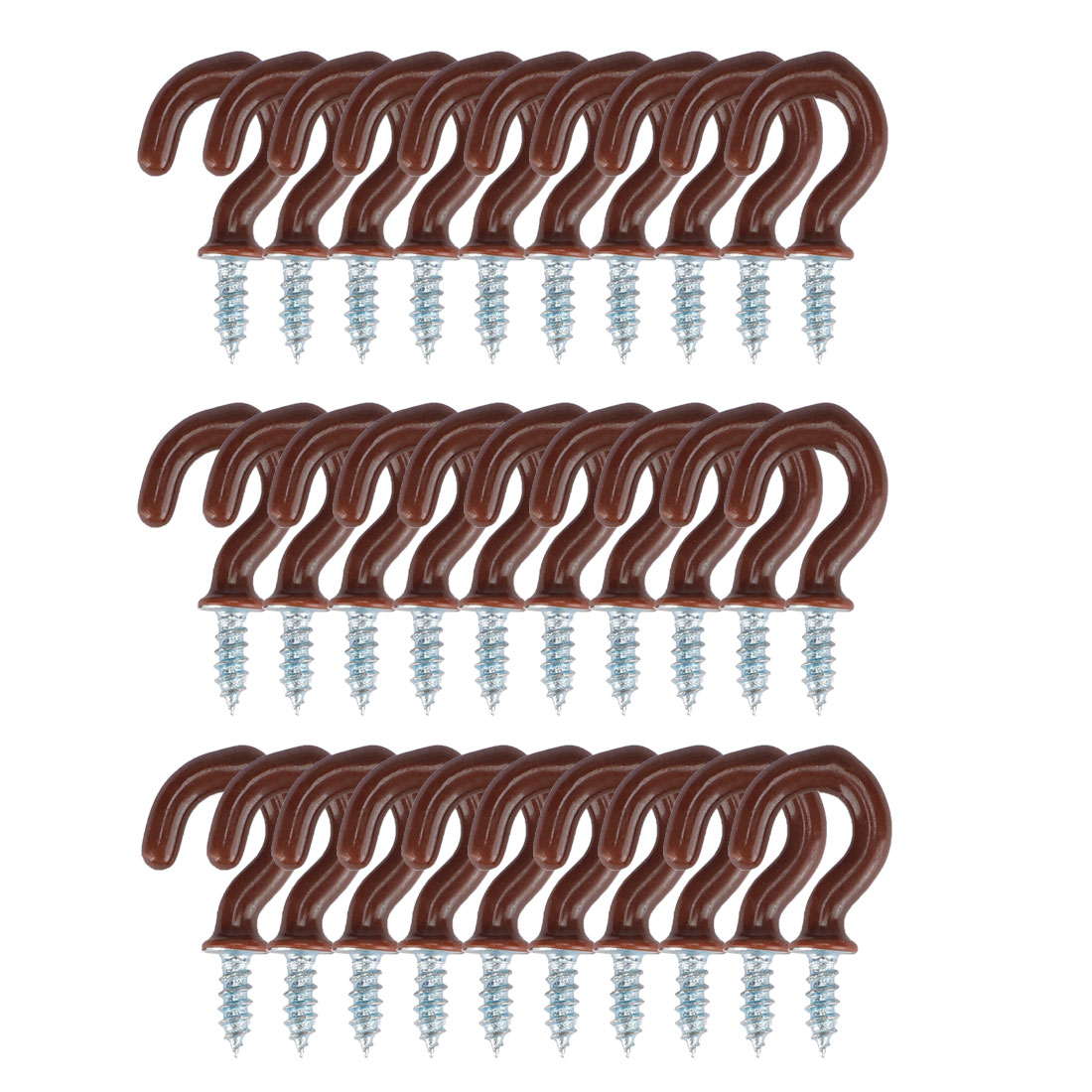 30pcs Cup Hooks 1/2 Inch Metal with Vinyl Coated Holder Screw in Hanger Brown