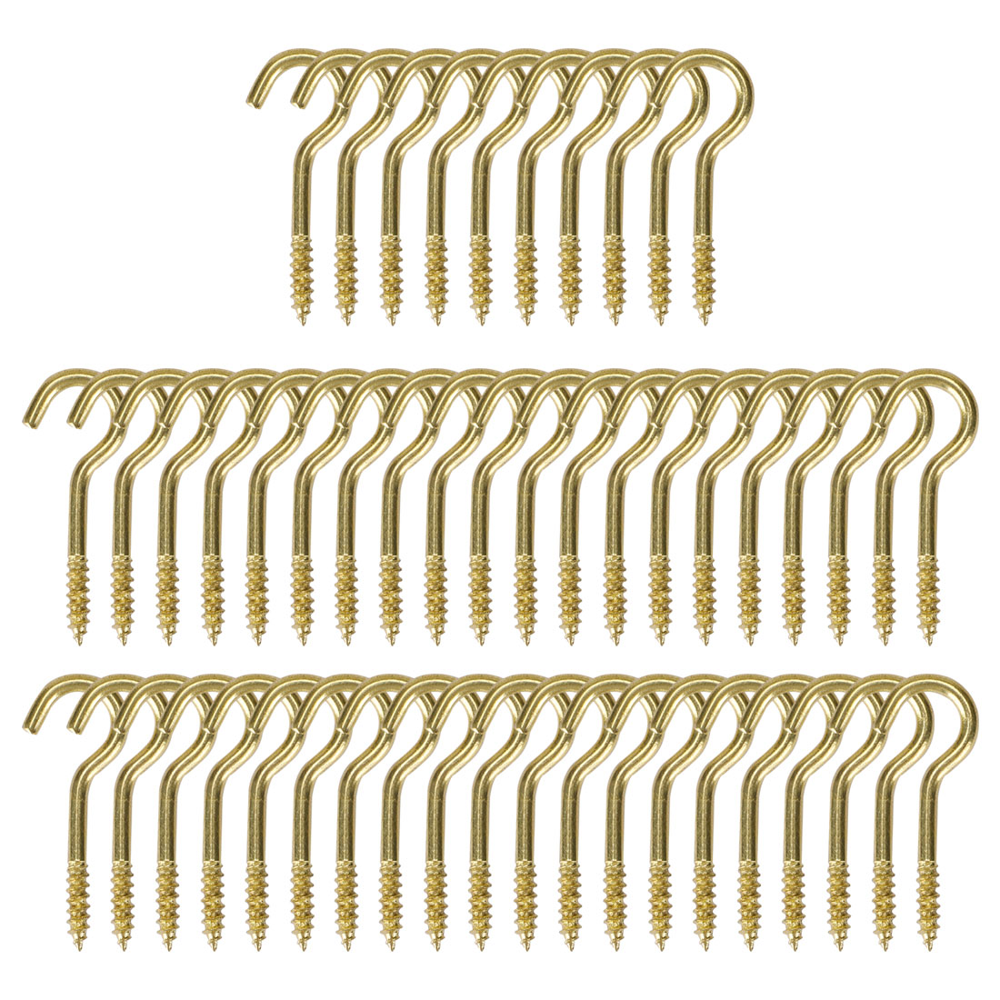 50pcs Cup Ceiling Hooks 5/8 Inch Durable Metal Screw in Hanger Hooks Gold Tone