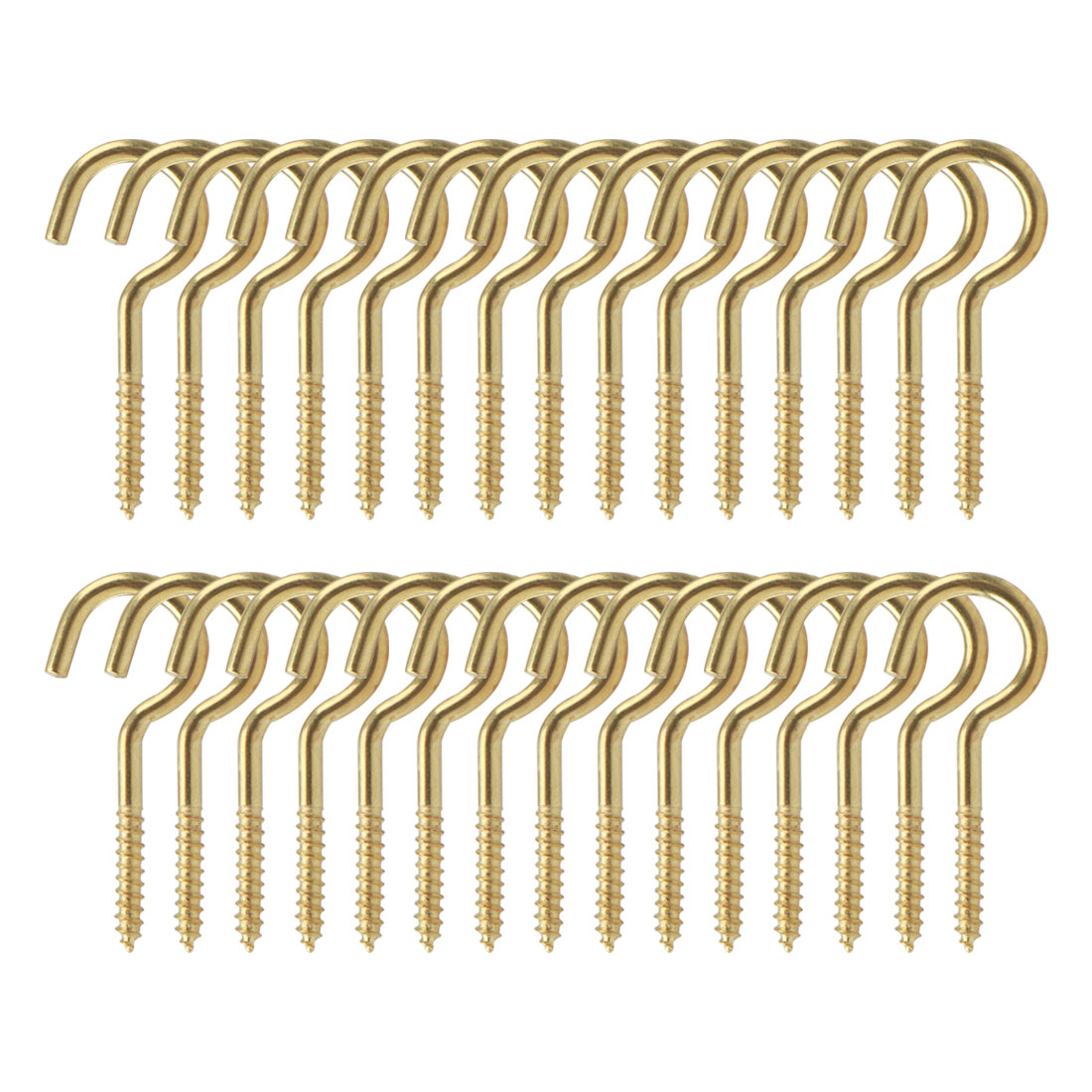 30pcs Cup Ceiling Hooks 3/4 Inch Durable Metal Screw in Hanger Hooks Gold Tone