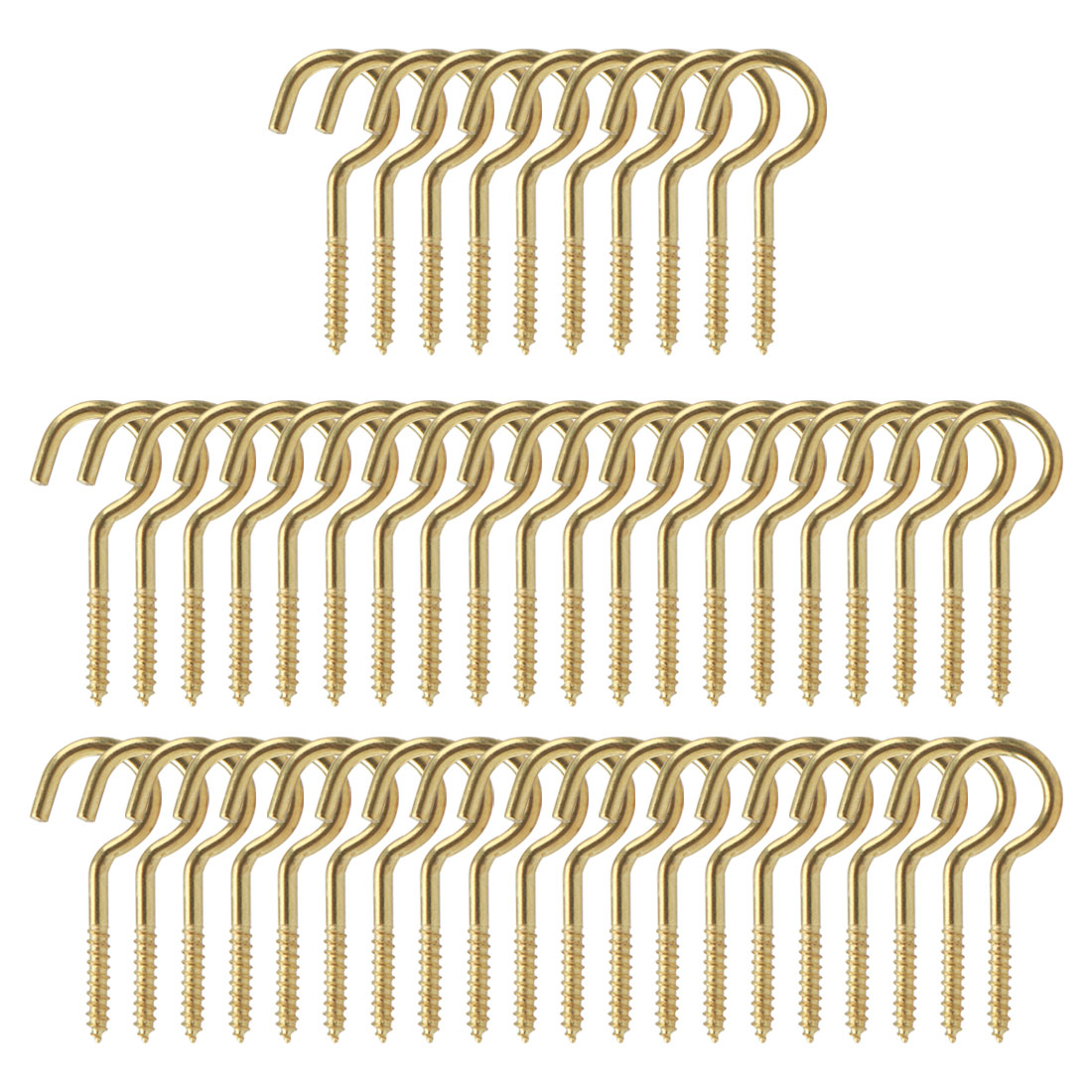 50pcs Cup Ceiling Hooks 3/4 Inch Durable Metal Screw in Hanger Hooks Gold Tone