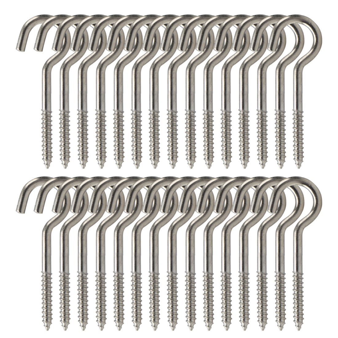 30pcs Cup Ceiling Hooks 1 Inch Durable Metal Screw in Hanger Hook Silver Gray