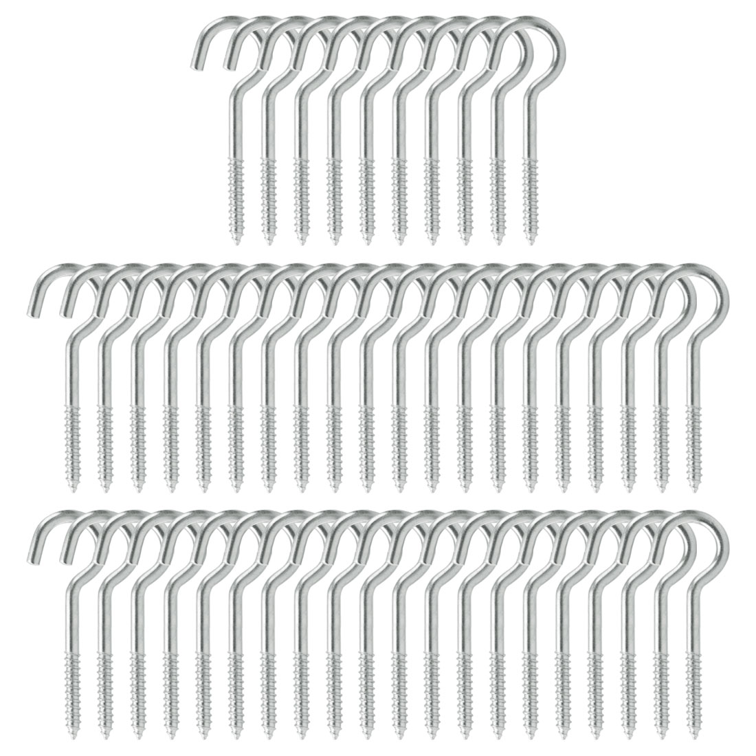 50pcs Cup Ceiling Hooks 1 Inch Durable Metal Screw in Hanger Hook Silver White