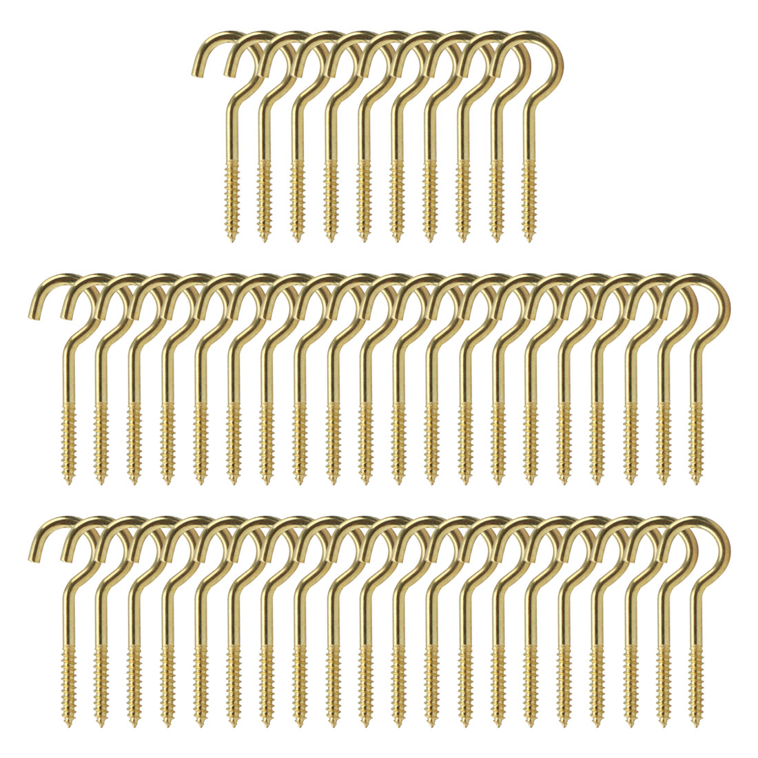 50pcs Cup Ceiling Hooks 1-1/4 Inch Durable Metal Screw in Hanger Hooks Gold Tone