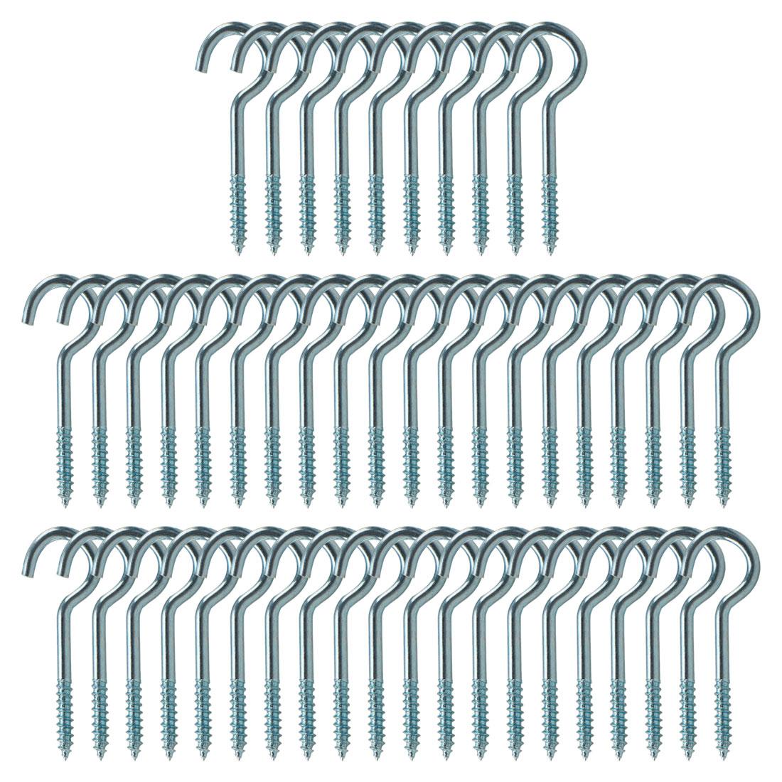 50pcs Cup Ceiling Hooks 1-1/4 Inch Durable Metal Screw in Hanger Hooks Blue
