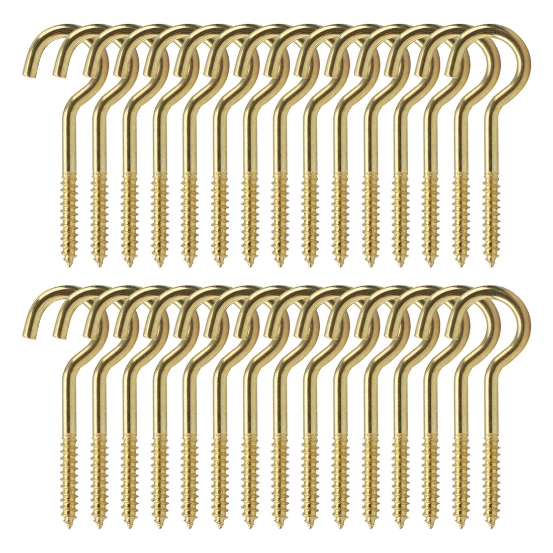 30pcs Cup Ceiling Hooks 1-5/8 Inch Durable Metal Screw in Hanger Hooks Gold Tone