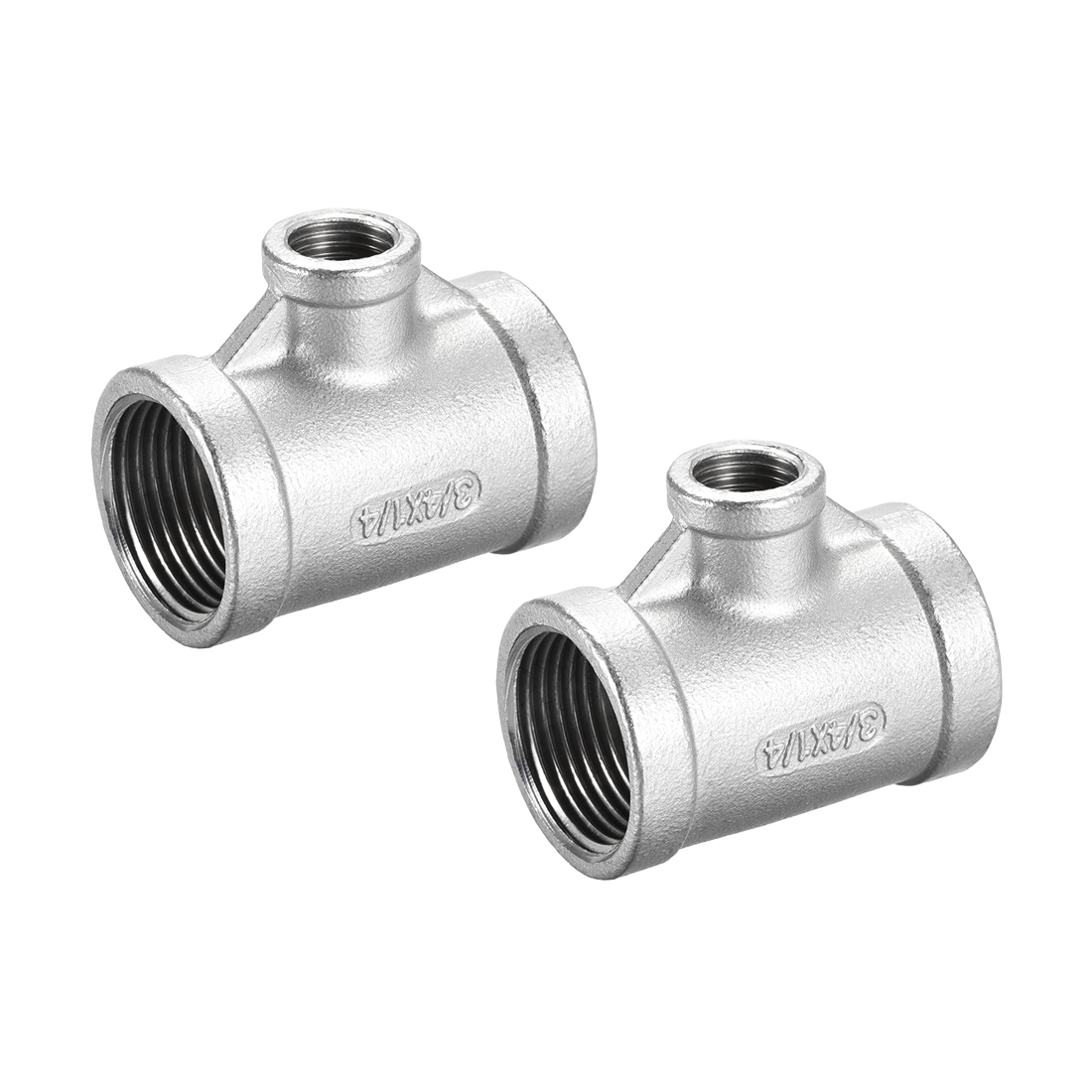 Stainless Steel 304 Cast Pipe Fitting 3/4BSPTx1/4BSPT Tee Shaped Connector 2pcs