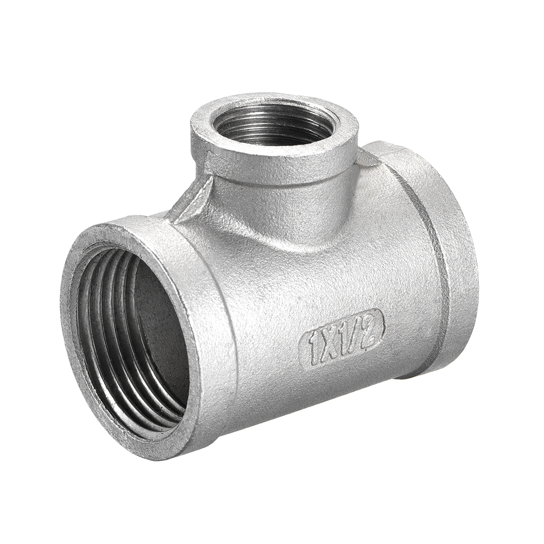 Stainless Steel 304 Cast Pipe Fitting 1 BSPT x 1/2 BSPT Tee Shaped Connector