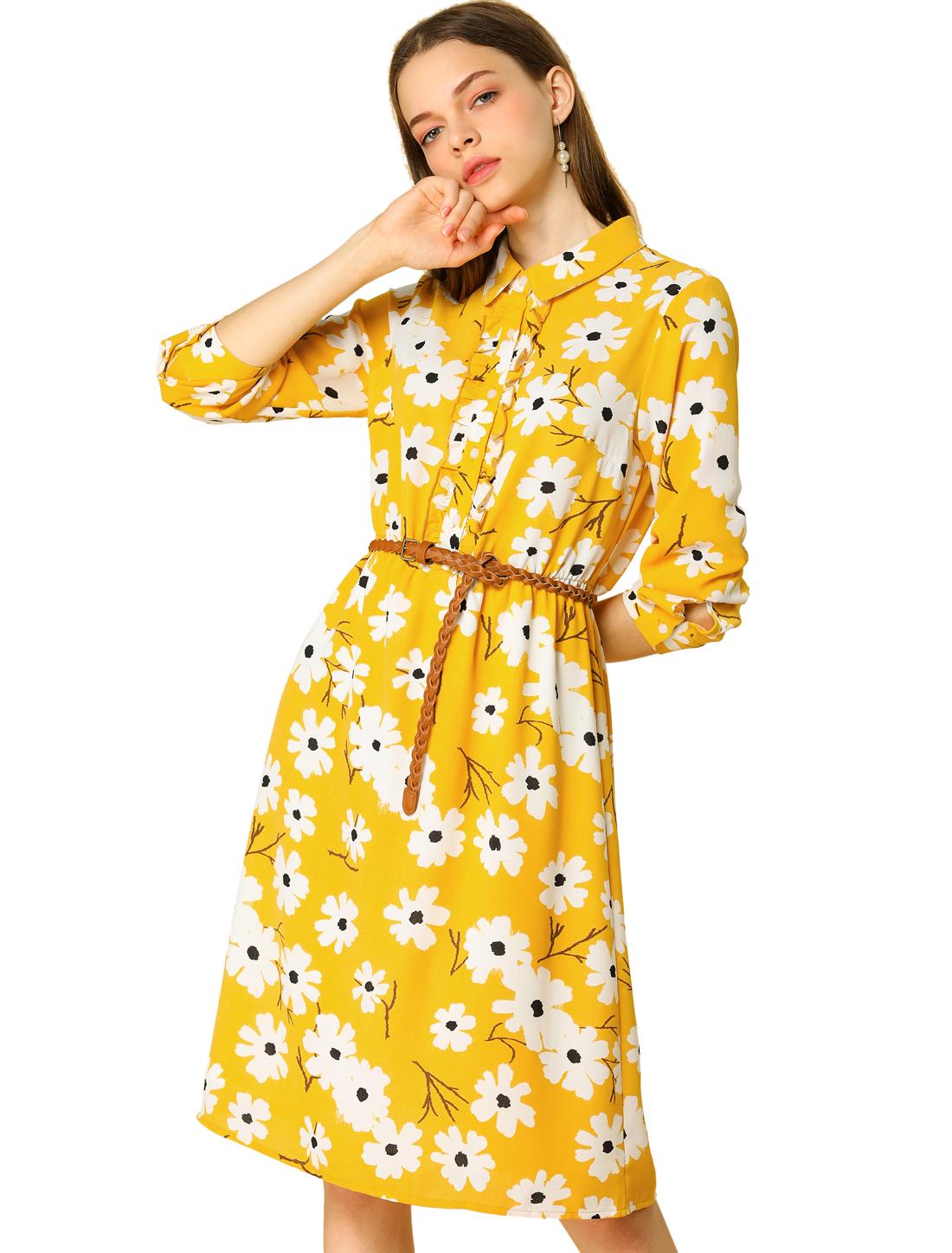 Women's Floral Button Ruffle Half Placket Long Sleeve Shirt Dress Yellow XS