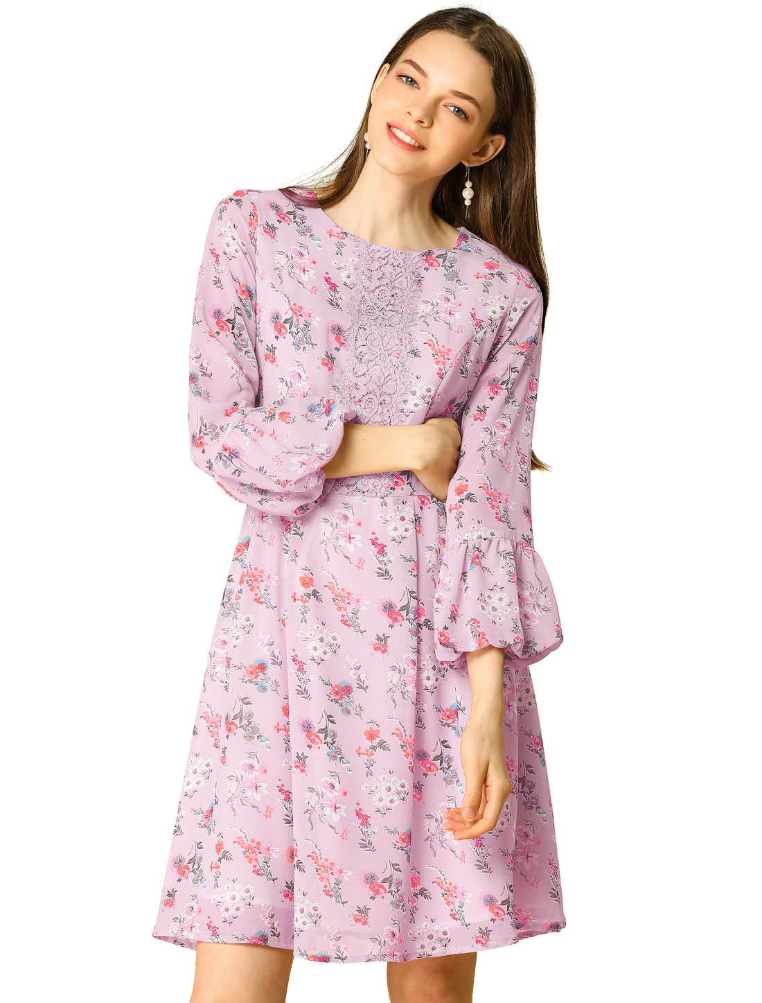 Women's Vintage Lantern Sleeves Lace Splice Chiffon Floral Flare Dress Purple S