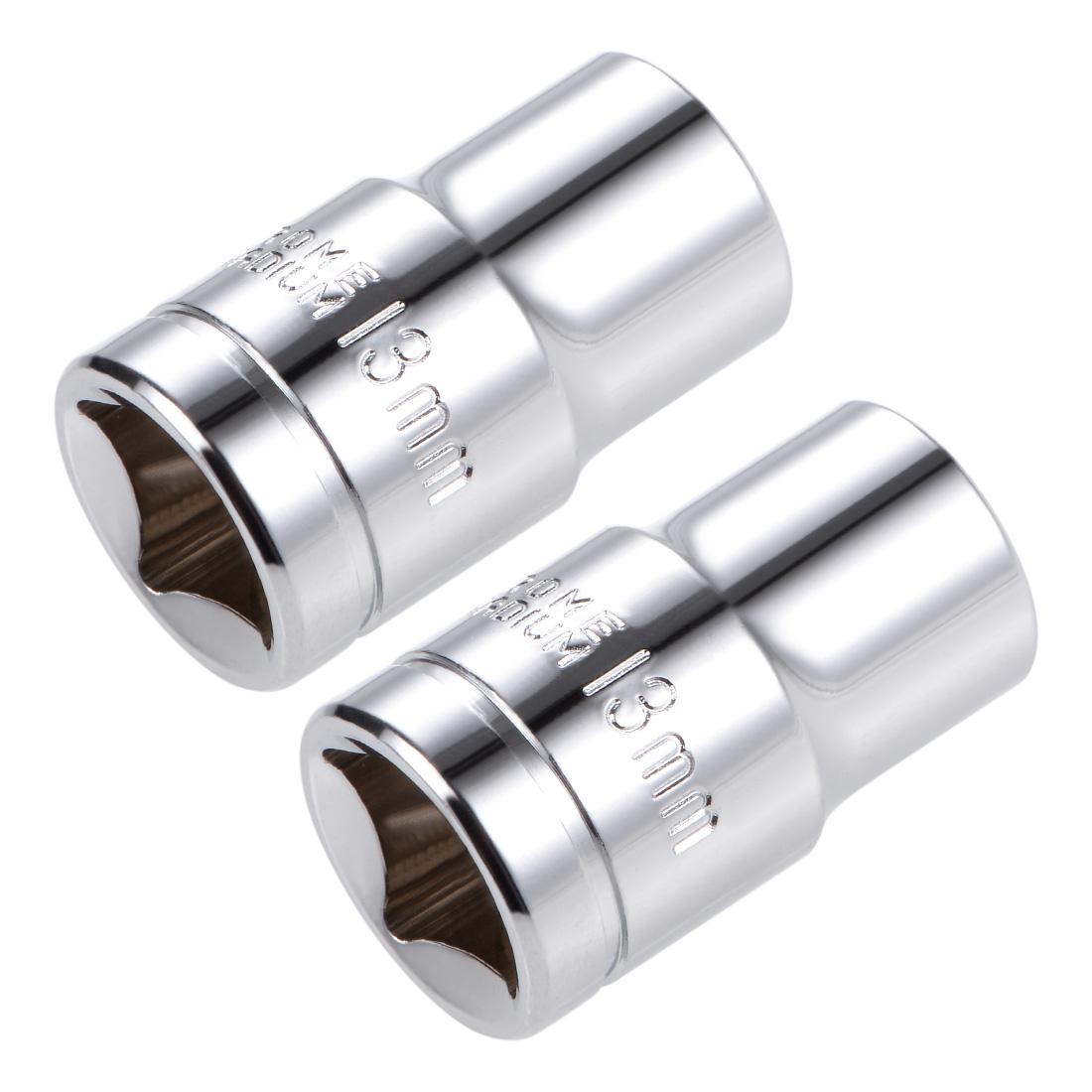 1/2-inch Drive E13 Universal Spline Socket Shallow 12 Point Cr-V Steel 2 Pcs
