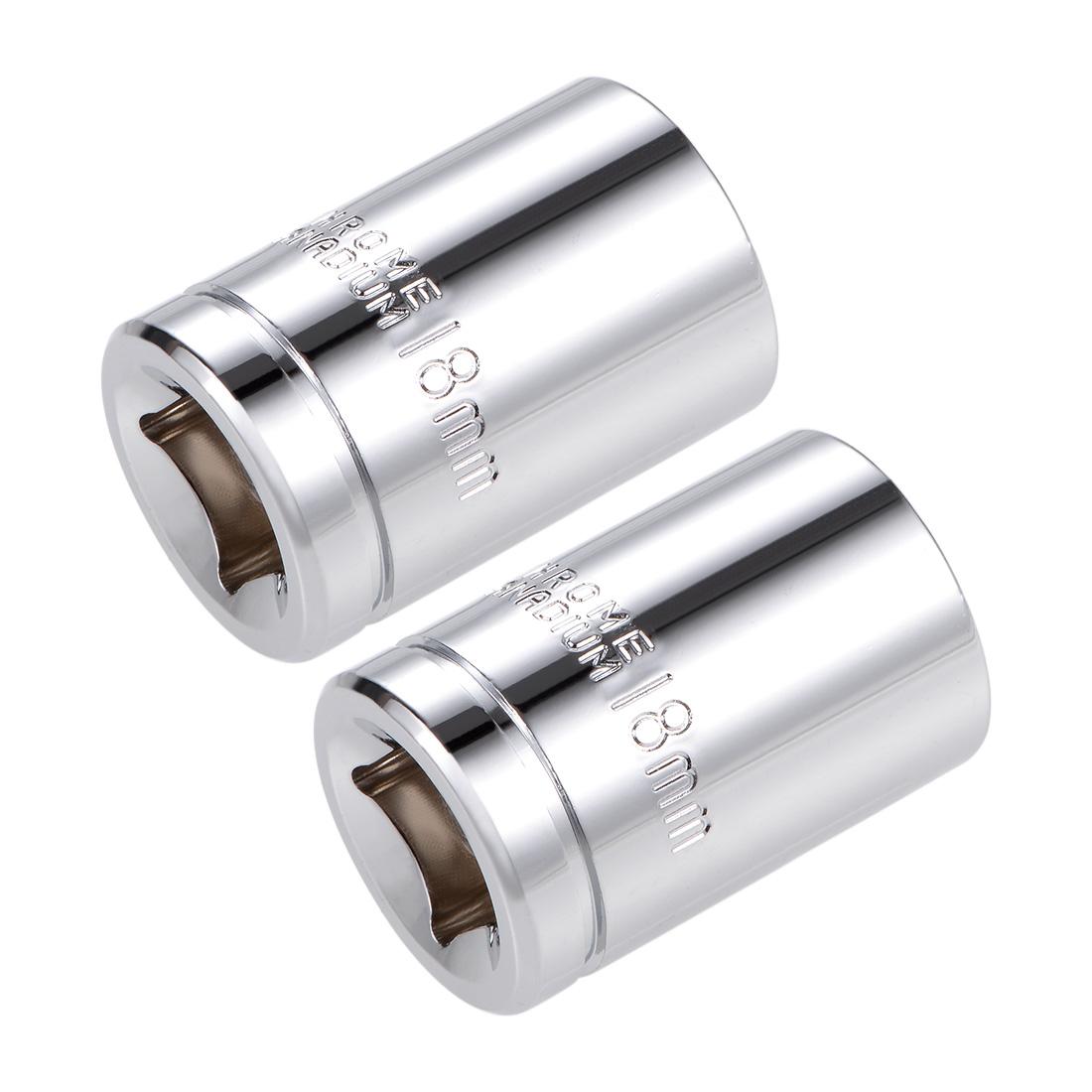 1/2-inch Drive E18 Universal Spline Socket Shallow 12 Point Cr-V Steel 2 pcs