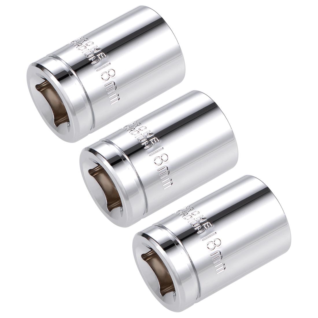 1/2-inch Drive E18 Universal Spline Socket Shallow 12 Point Cr-V Steel 3 pcs